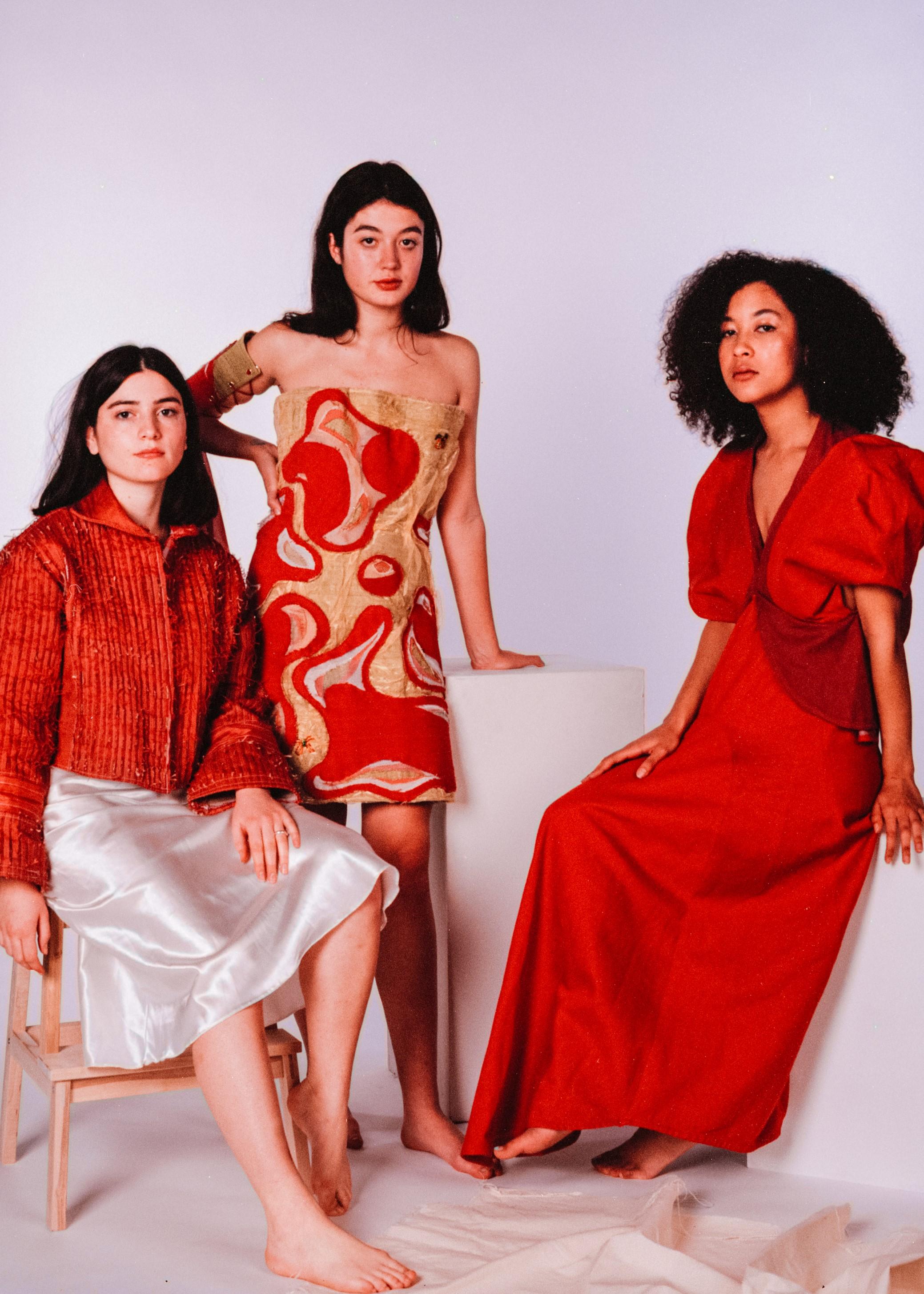Models: Hannah Draper, Ellie Jeans & Ilyana Bell  Hannah wears jacket by Katie Anderson  Ellie wears dress & arm cuff by Annie Linfitt  Ilyana wears dress by Rosie Lindsley