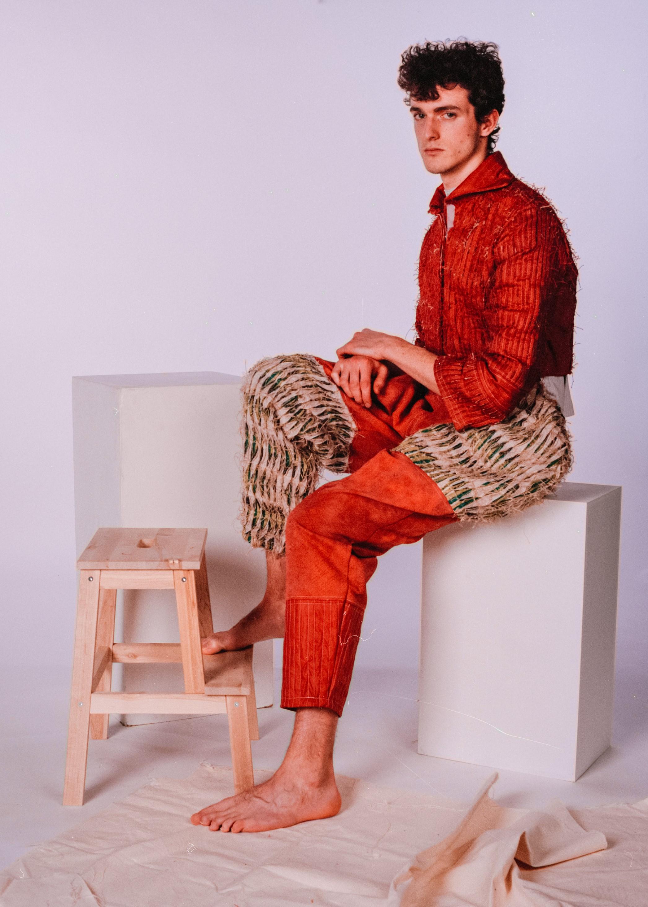 Model: Daniel Turner  Jacket & dungarees by Katie Anderson