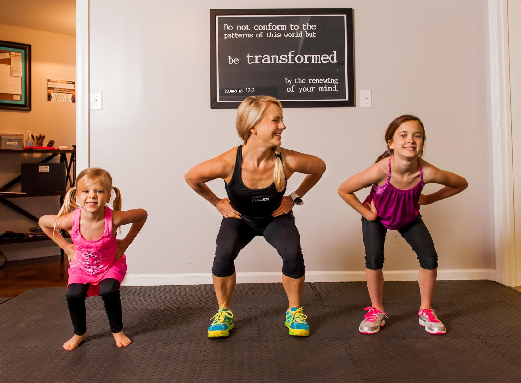 Lyla, Caroline, & Kaitlyn practicing those squats!