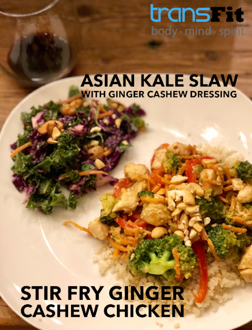 asian kale salad and stir fry ginger cashew chicken wordswag.PNG