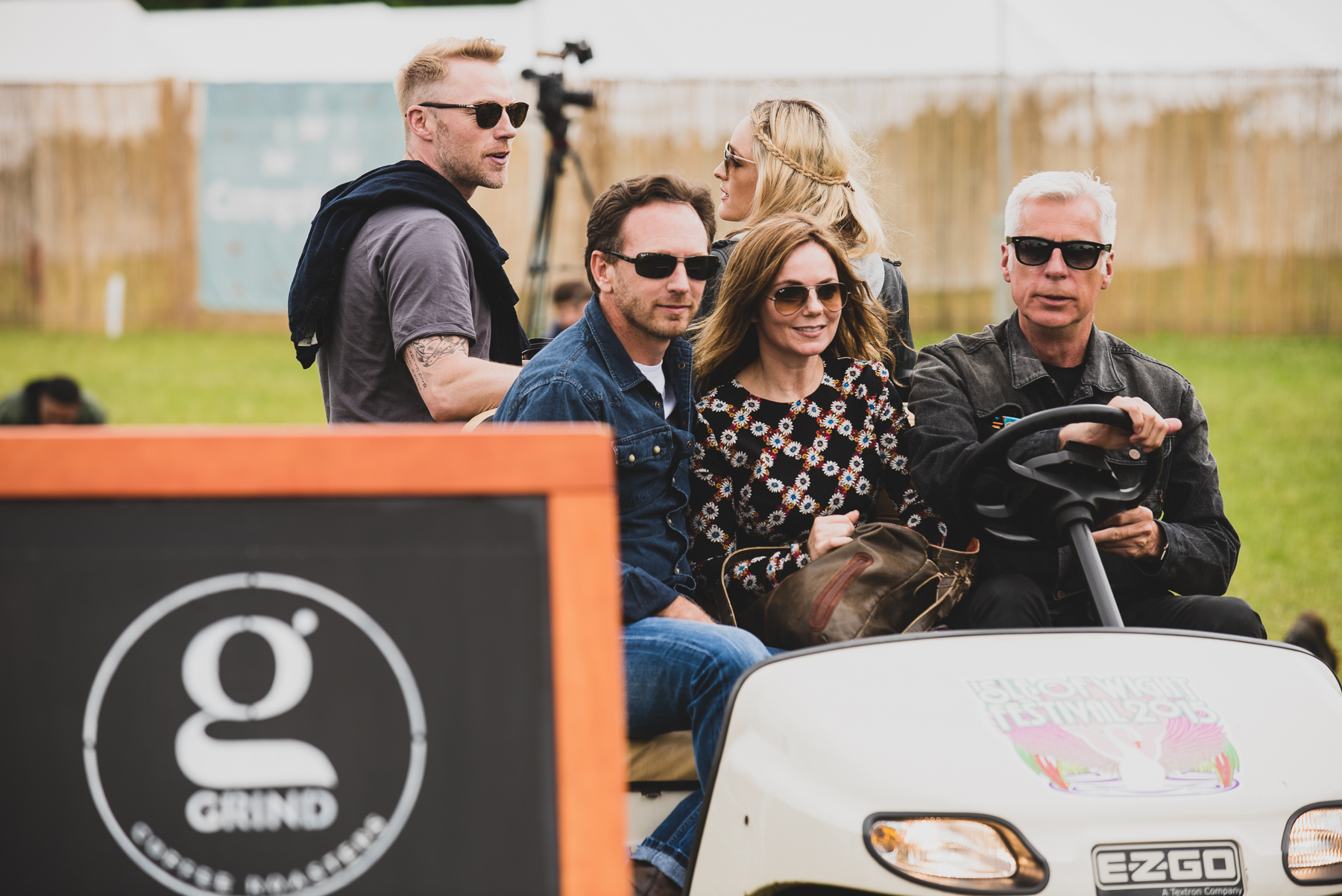 Ronan Keating, with his Fiancé Storm, Christian Horner head of F1 RedBull Racing Team, with his wife Geri Halliwell, Not forgetting Isle of Wights very own John Giddings.