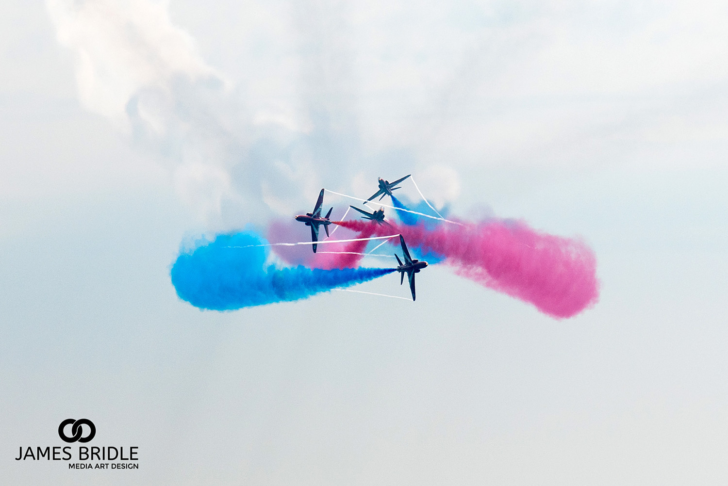 Red Arrows crossing paths, Bournemouth Airshow 2015