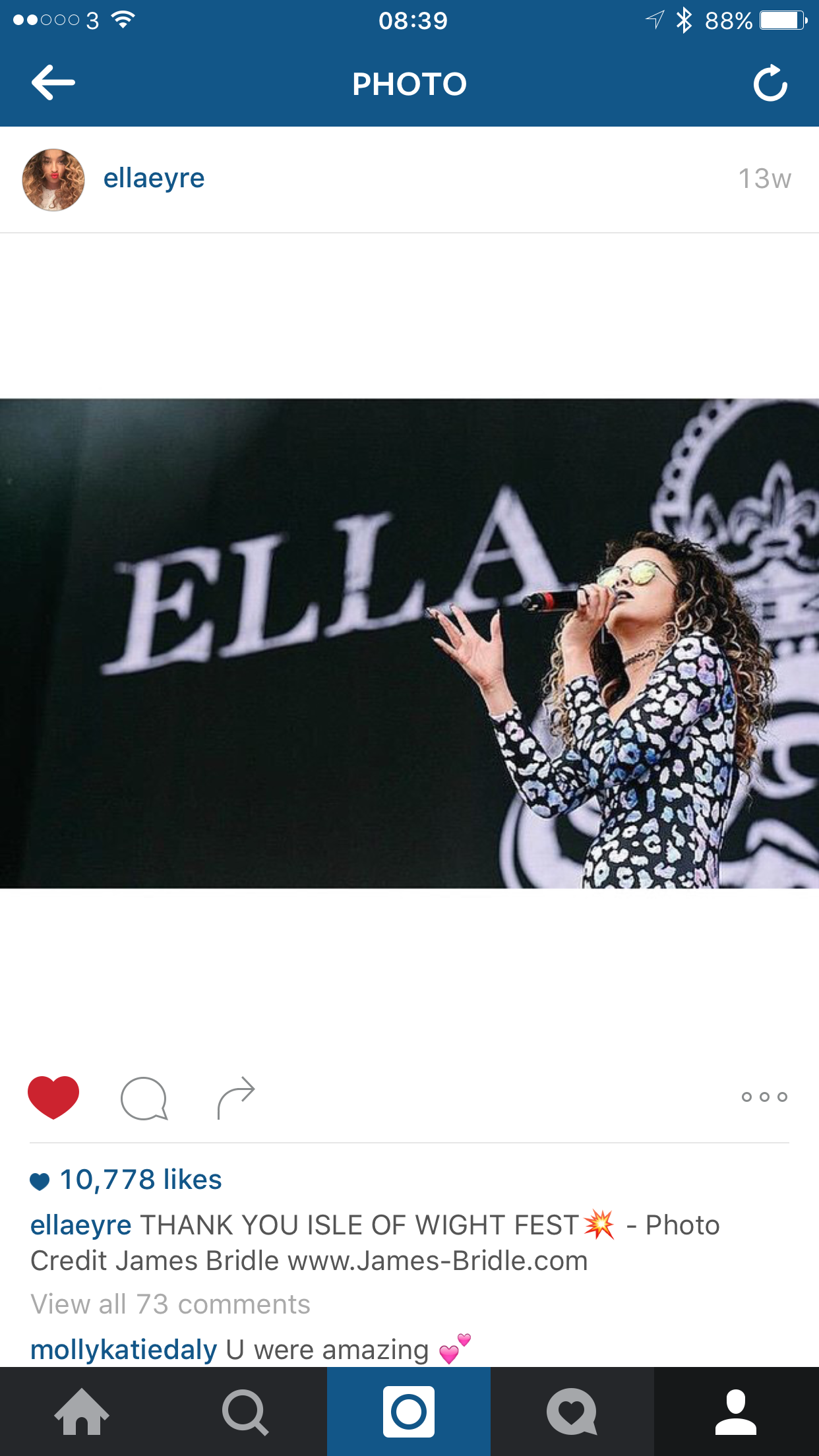Ella Eyre instagram crediting Isle of wight performance photo