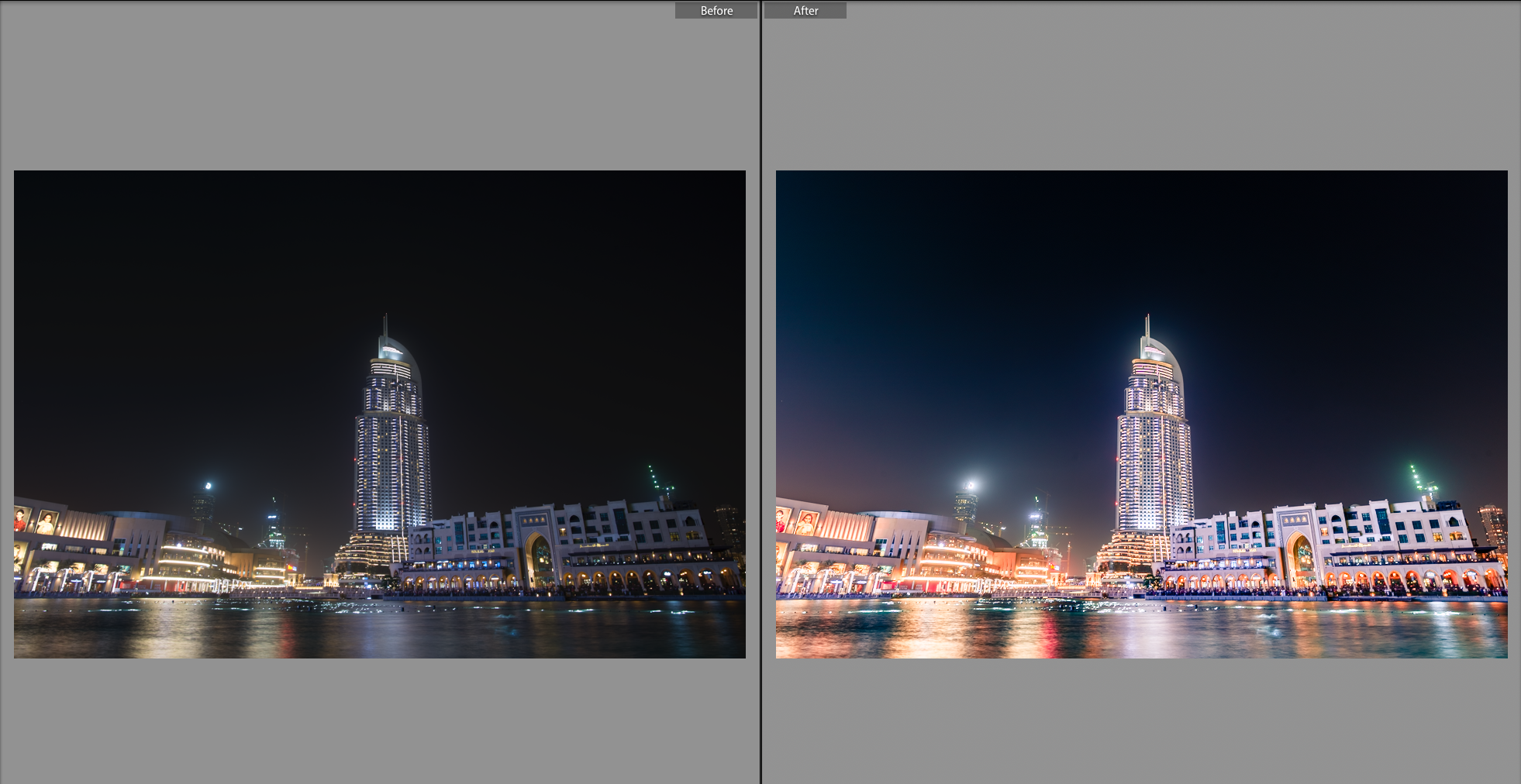 Preset used -AUTUMN COLOURS with adjustments to exposure,vibrancy,and colour temp along with a few movements in the RGB tone curve to give that warm and hot feel of the UAE.