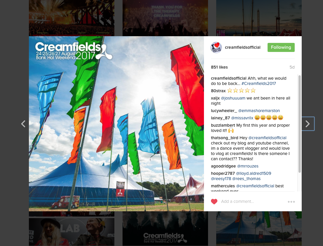 Creamfields Instagram (2016)