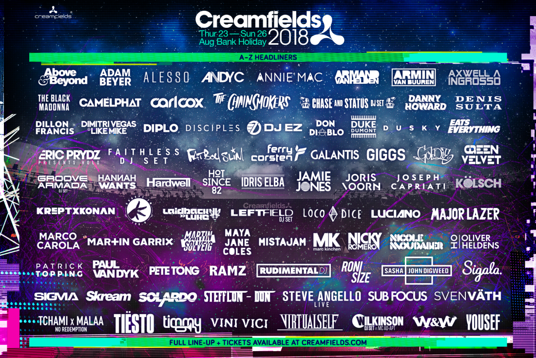CREAMFIELDS (2018) LINE UP POSTER // https://www.creamfields.com