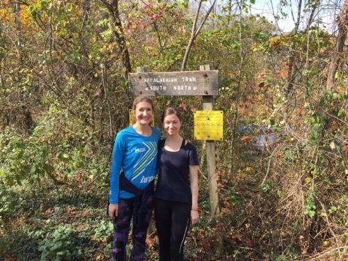 Dr. Aimee Pozorksi and Dr. Maren Scheurer visiting the Appalachian Trail outside Blacksburg (D D Gilbride)