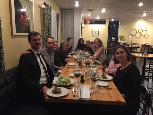 Undergraduate dinner with Ms. Ruth Messinger in downtown Blacksburg (M G Laufer)