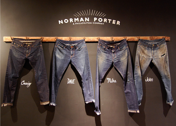 Norman Porter displays their jeans at Art in the Age.