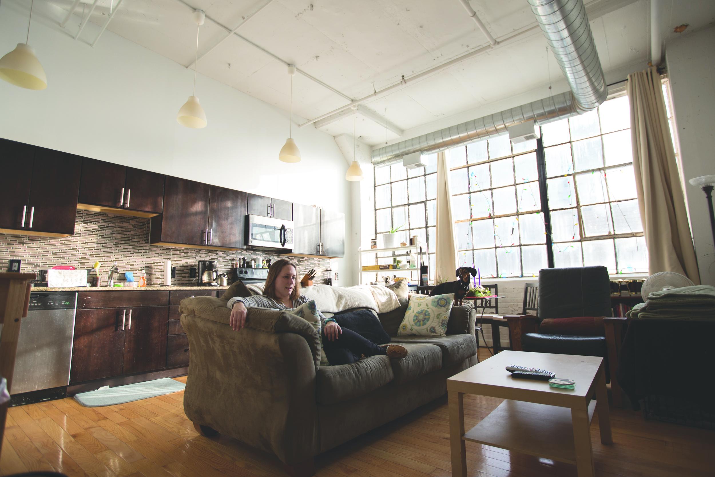 Krista Pleger enjoys her clutter-free apartment.