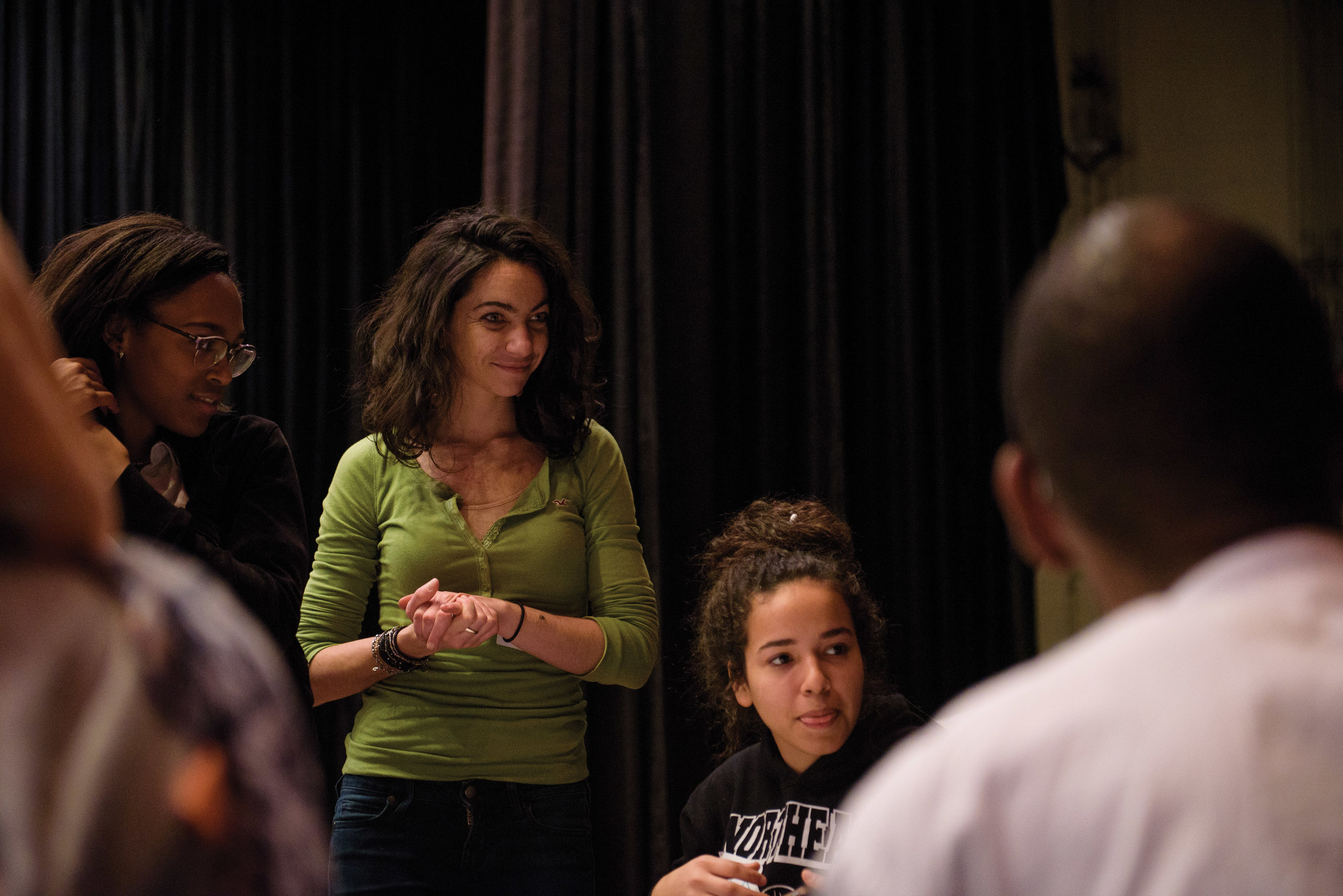 Al-Bustan Director of Education Nora Elmarzouky at a community workshop related to food at Northeast High School