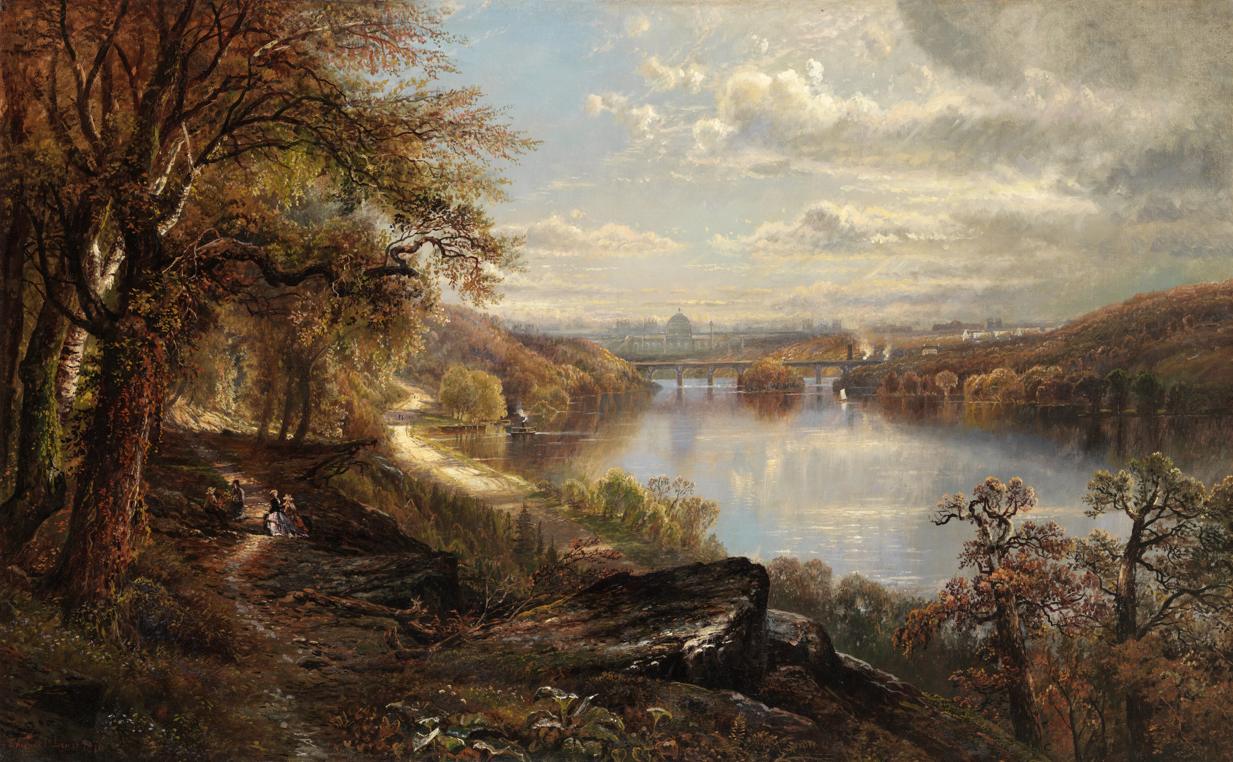 Edmund Darch Lewis (1835-1910)  View of the Schuylkill River with Memorial Hall in the background, 1876