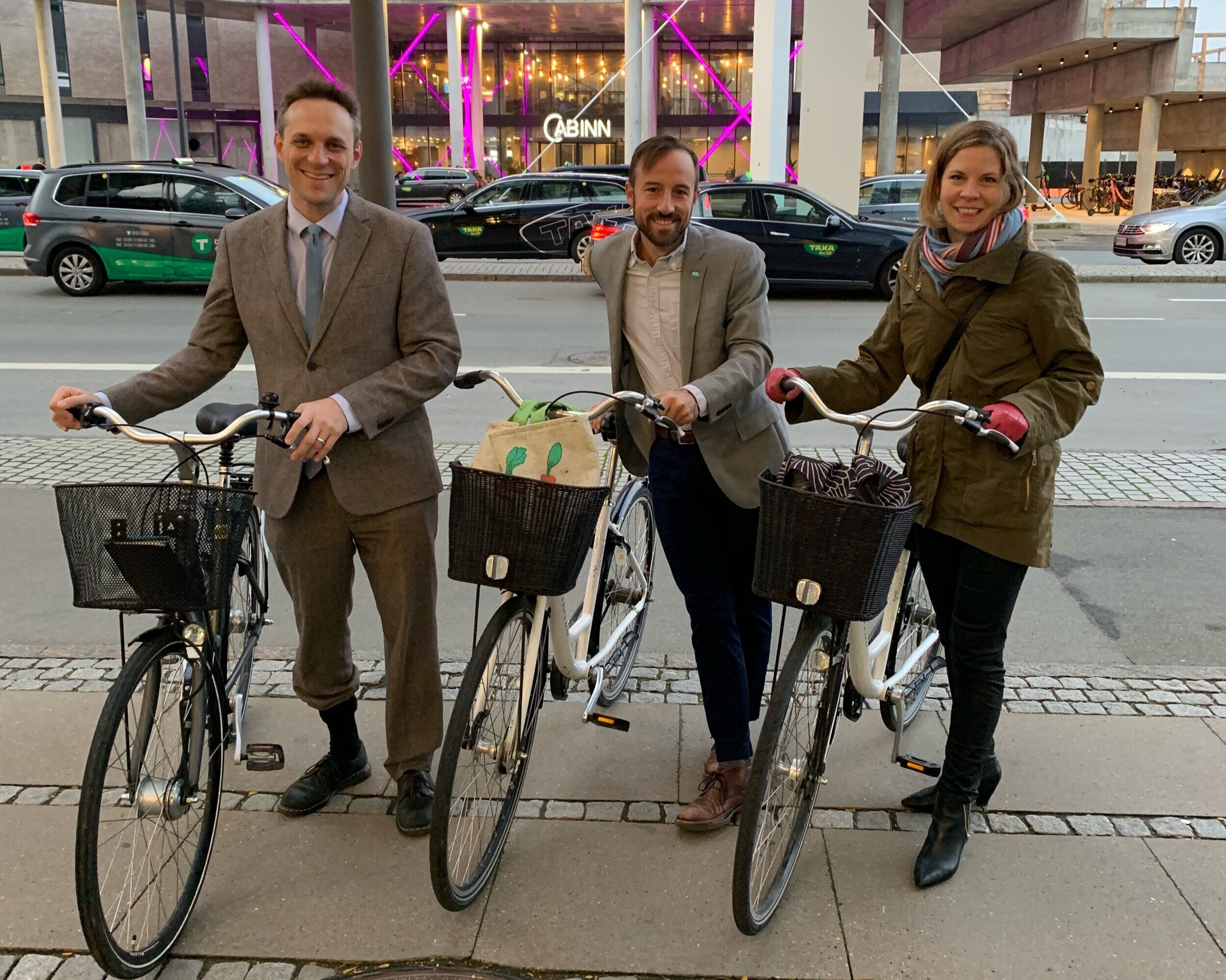 Chris Puchalsky (Policy Director at Office of Transportation, Infrastructure and Sustainability) Nic Esposito (Zero Waste And Litter Director) and Lauren Swartz (Senior Director of International Business and Global Strategy in the Commerce Department) in Copenhagen.