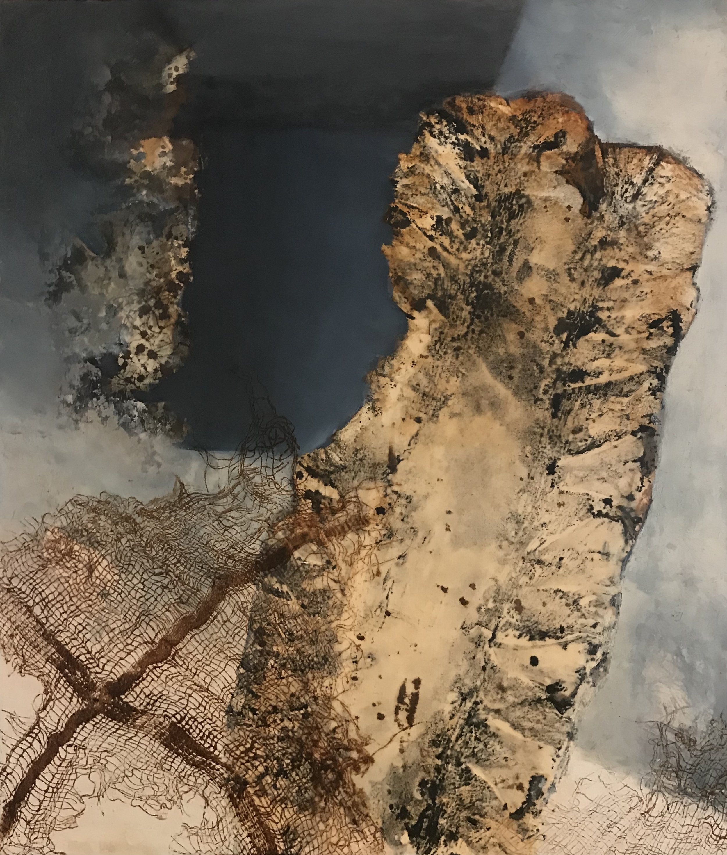 "Carol Bajen-Gahm,  Root Cellar Meditation #12 , 20"" x 17"", encaustic, Pigment Stick, walnut ink, and seaweed print on Kitakata paper mounted on panel, 2016"