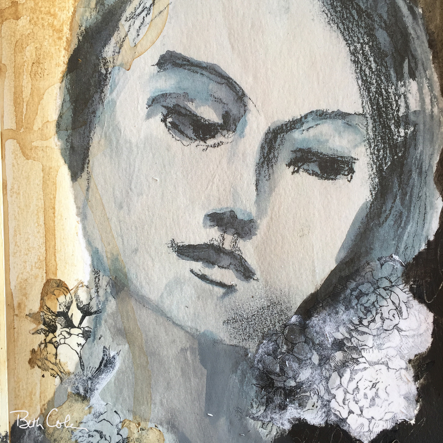 Untitled, Charcoal and Gesso on Watercolor Paper, © Beth Cole