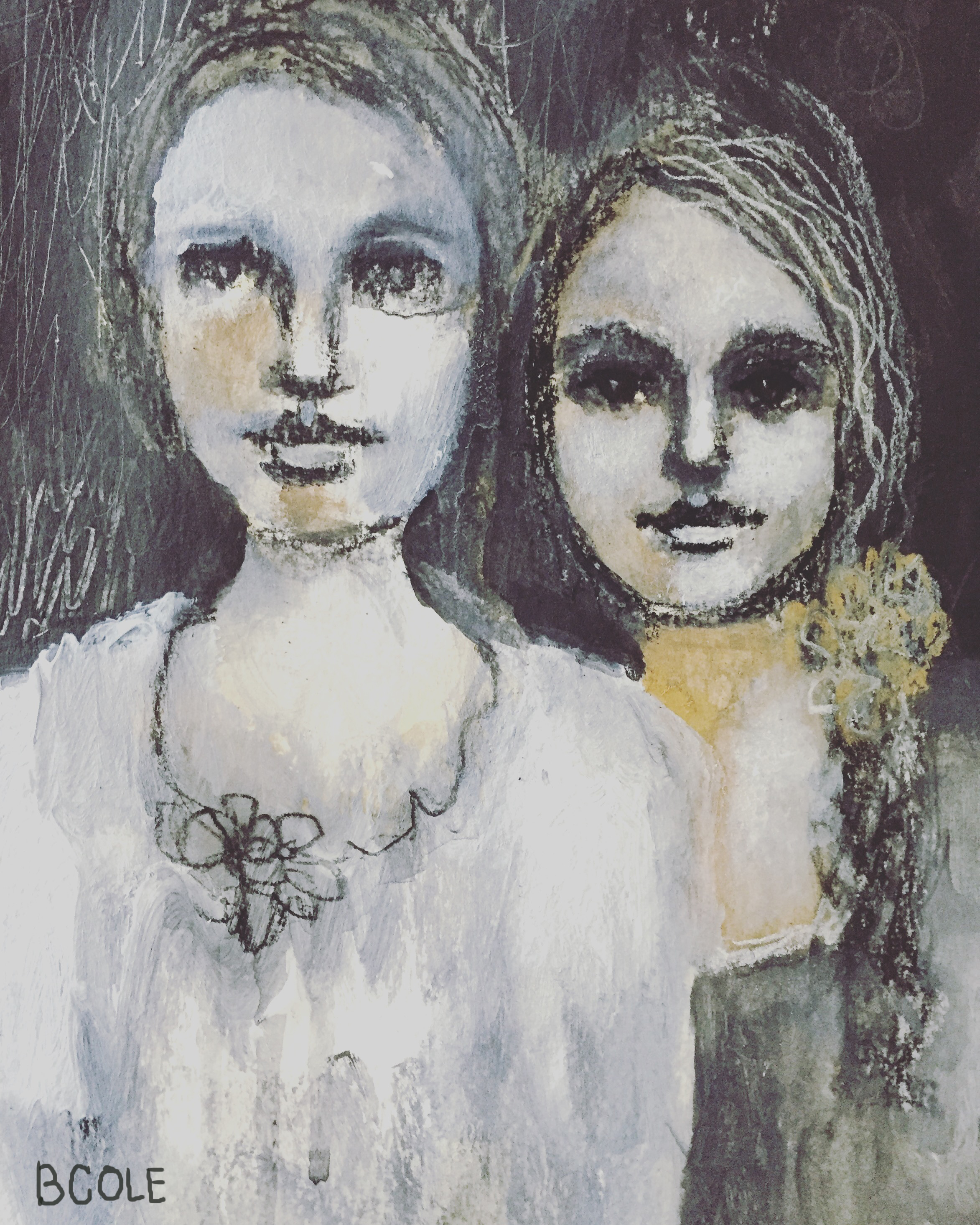 Sisters. Charcoal, Gesso, Acrylic. 8 x 5.