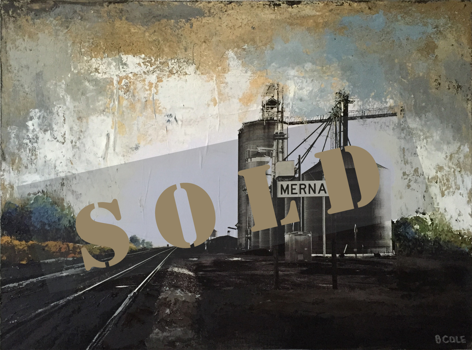 Our Town Merna - Oil/ColdWax/Photography - SOLD © Beth Cole