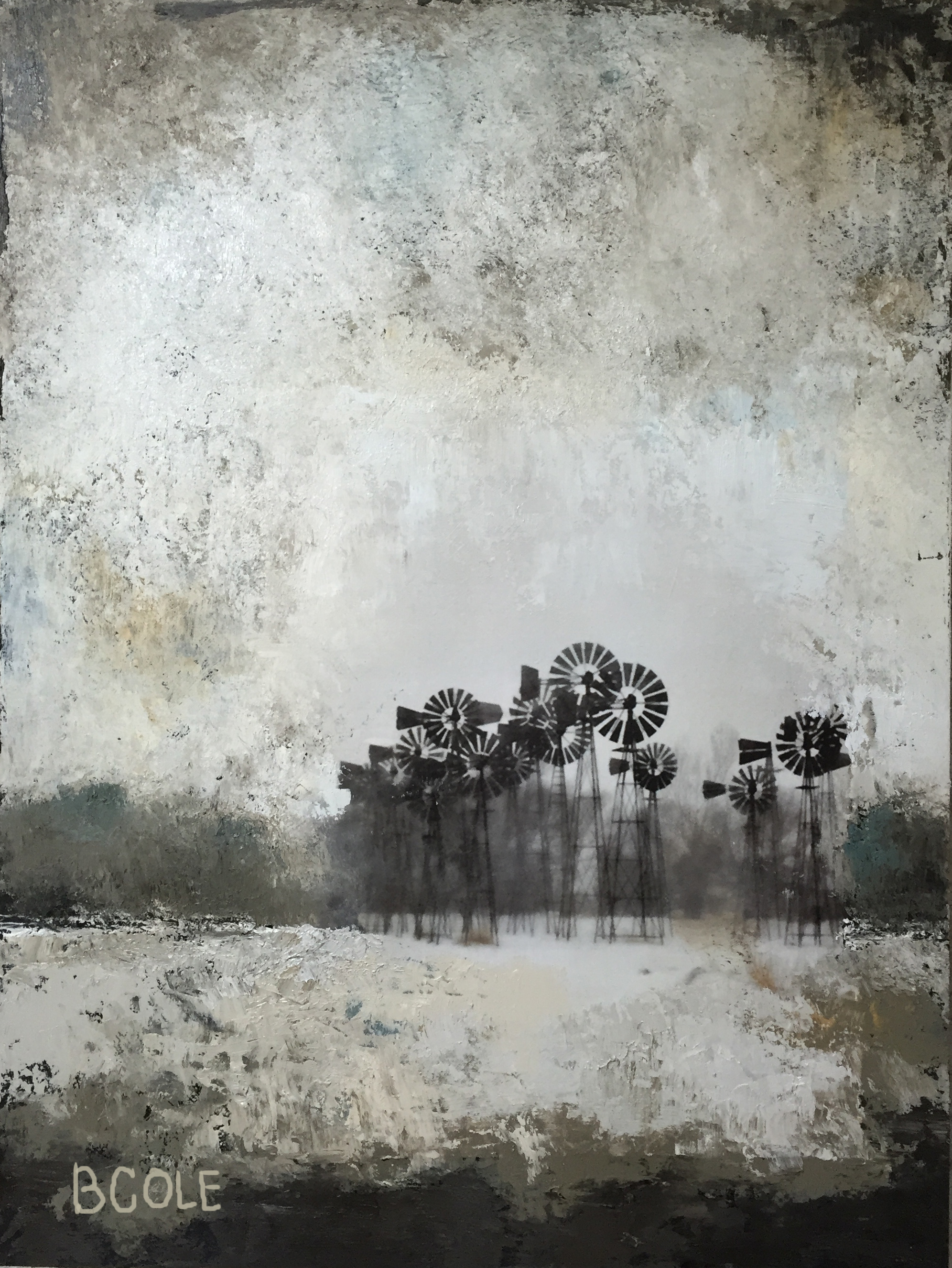 Wind Poets. Oil/ColdWax/Photography - 18 x 24. © Beth Cole