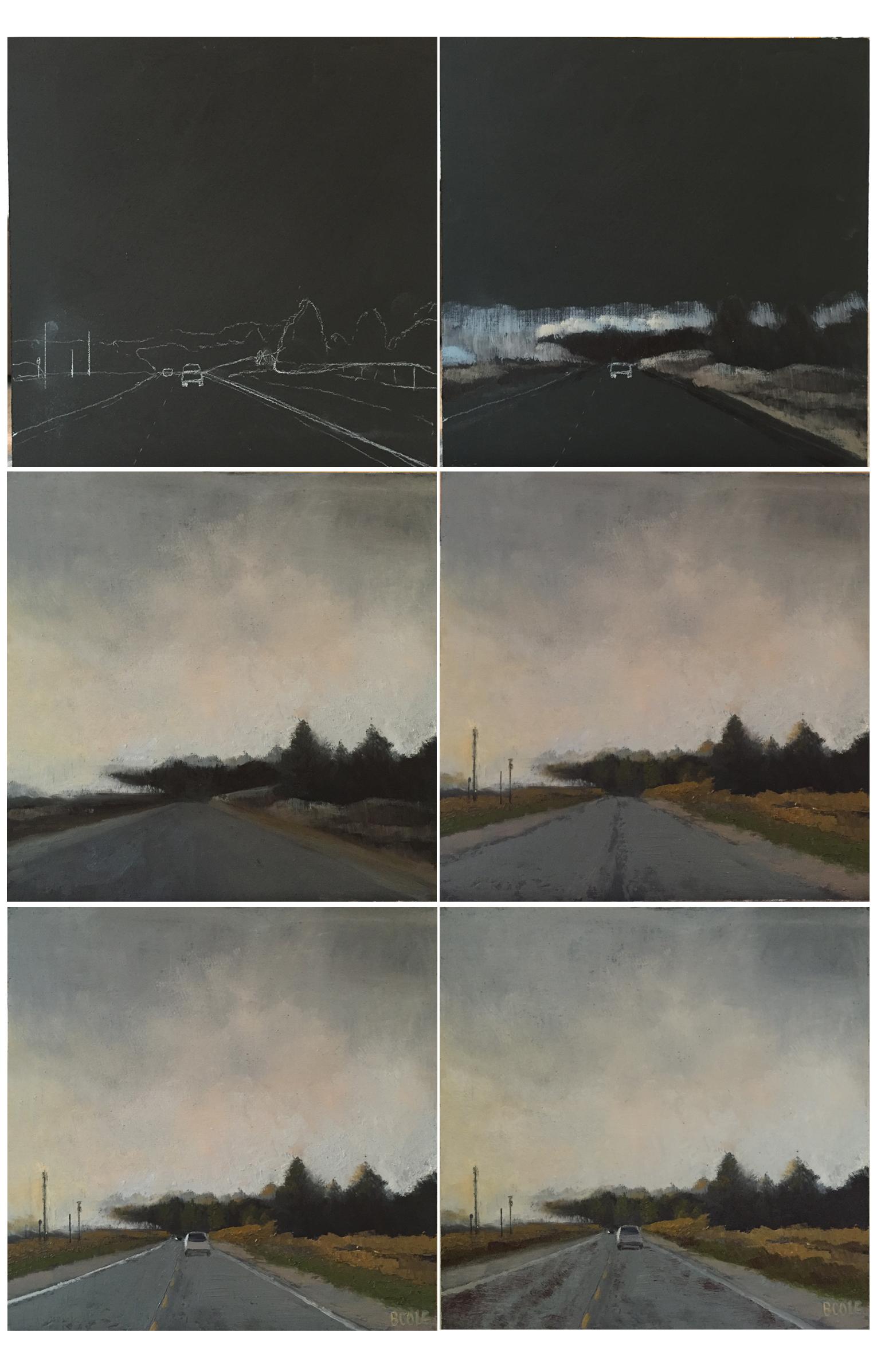 "Progress shots of ""Foggy Morning on Highway 2"" © Beth Cole, oil on wood panel, 12 x 12"