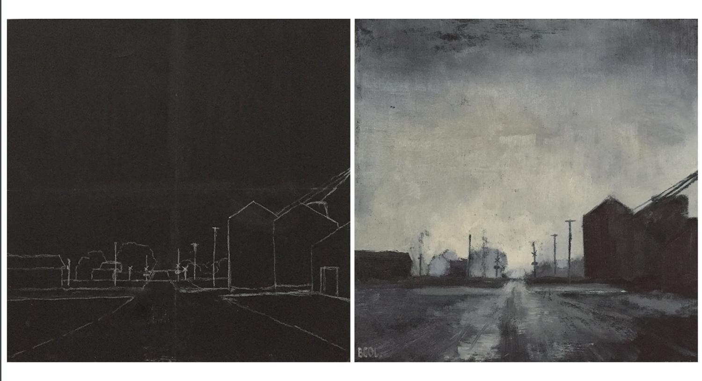"Progress shots of ""Fog on Main Street"" © Beth Cole, oil on wood panel, 12 x 12"
