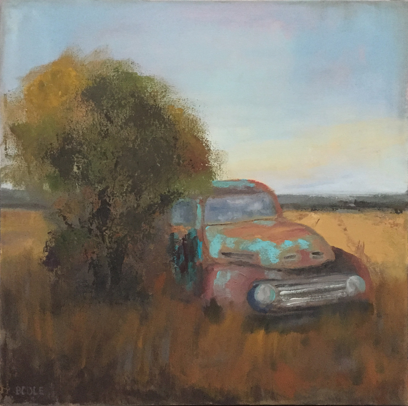 Parked for Good, ©Beth Cole, Oil on Canvas, 18 x 18