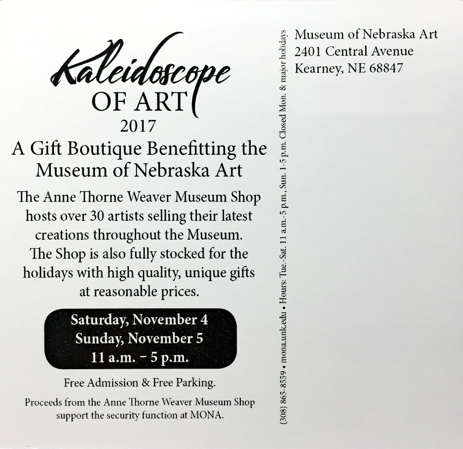 Kaleidoscope 2017 at MONA in Kearney, November 4-5