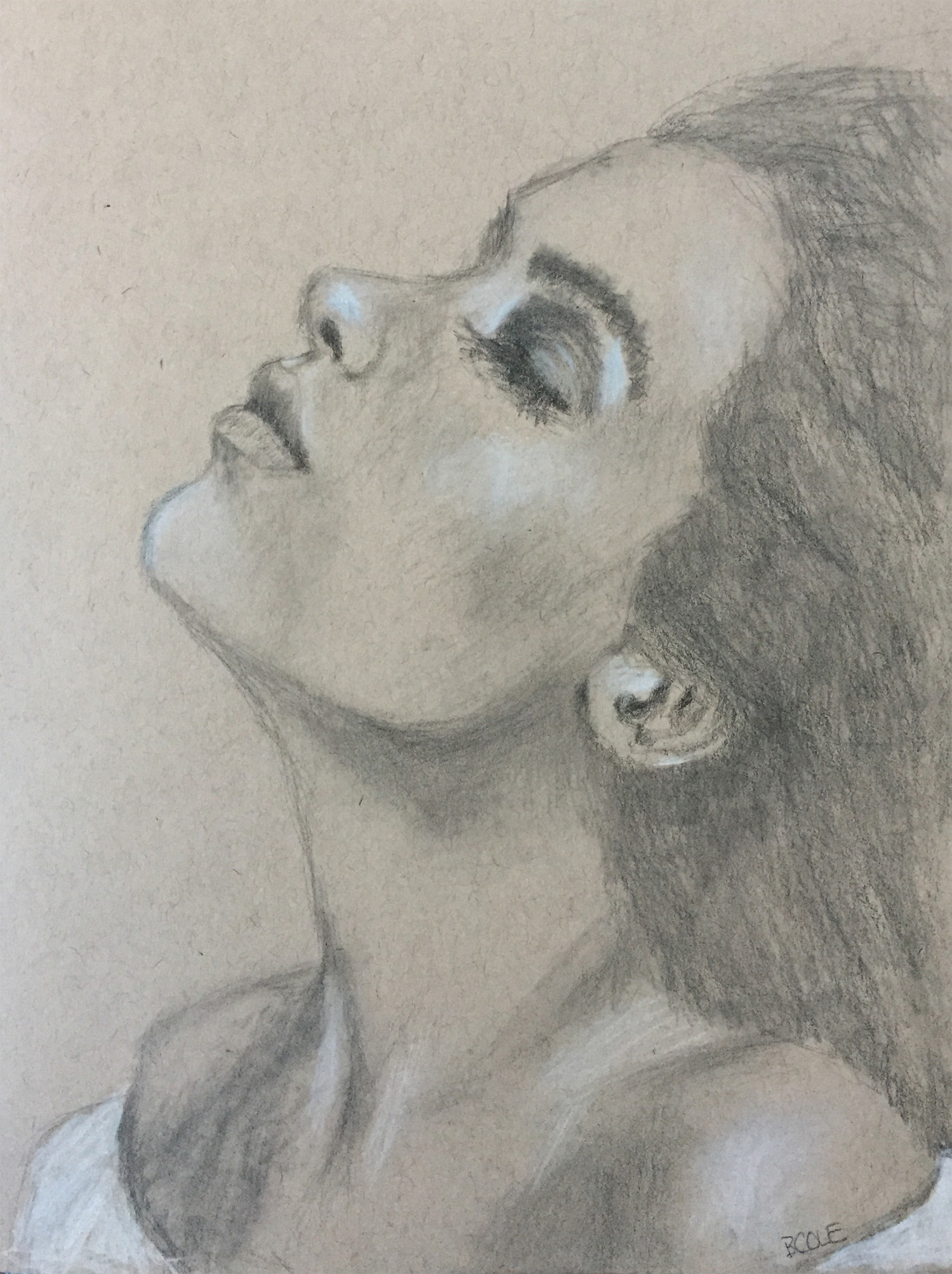 Study - Graphite and White Pastel on Toned Paper