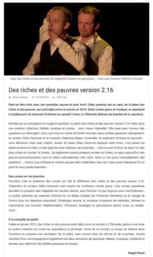 NOUVELLES.CH, JEUDI 18 FÉVRIER 2016 - par Magali Bossi