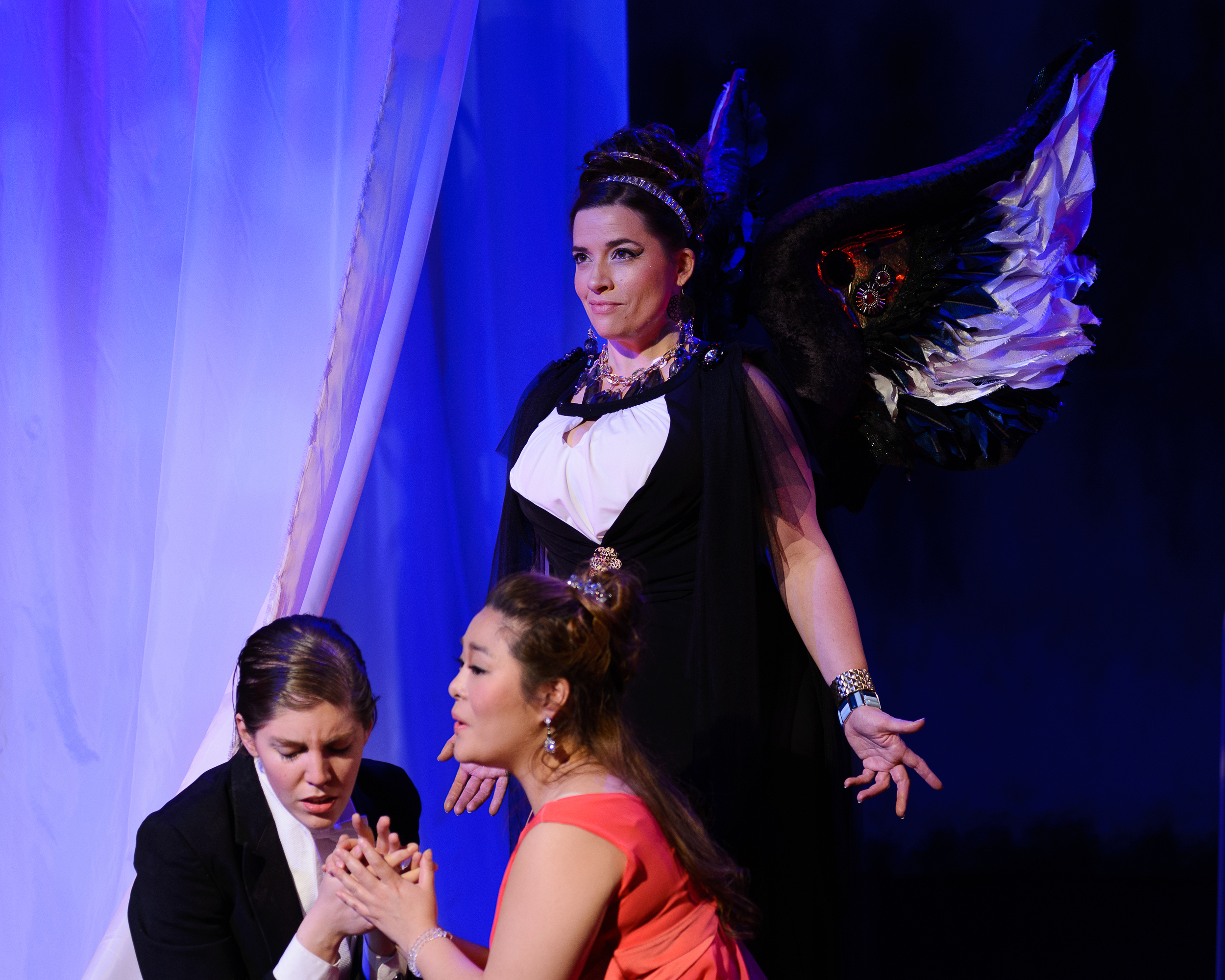 Laura Coale as Orfeo, Yunnie Park as Eurydice and Julia Fox as Amore in Opera in the Heights' Orfeo ed Euridice.  Photos by Deji Osinulu Photography.