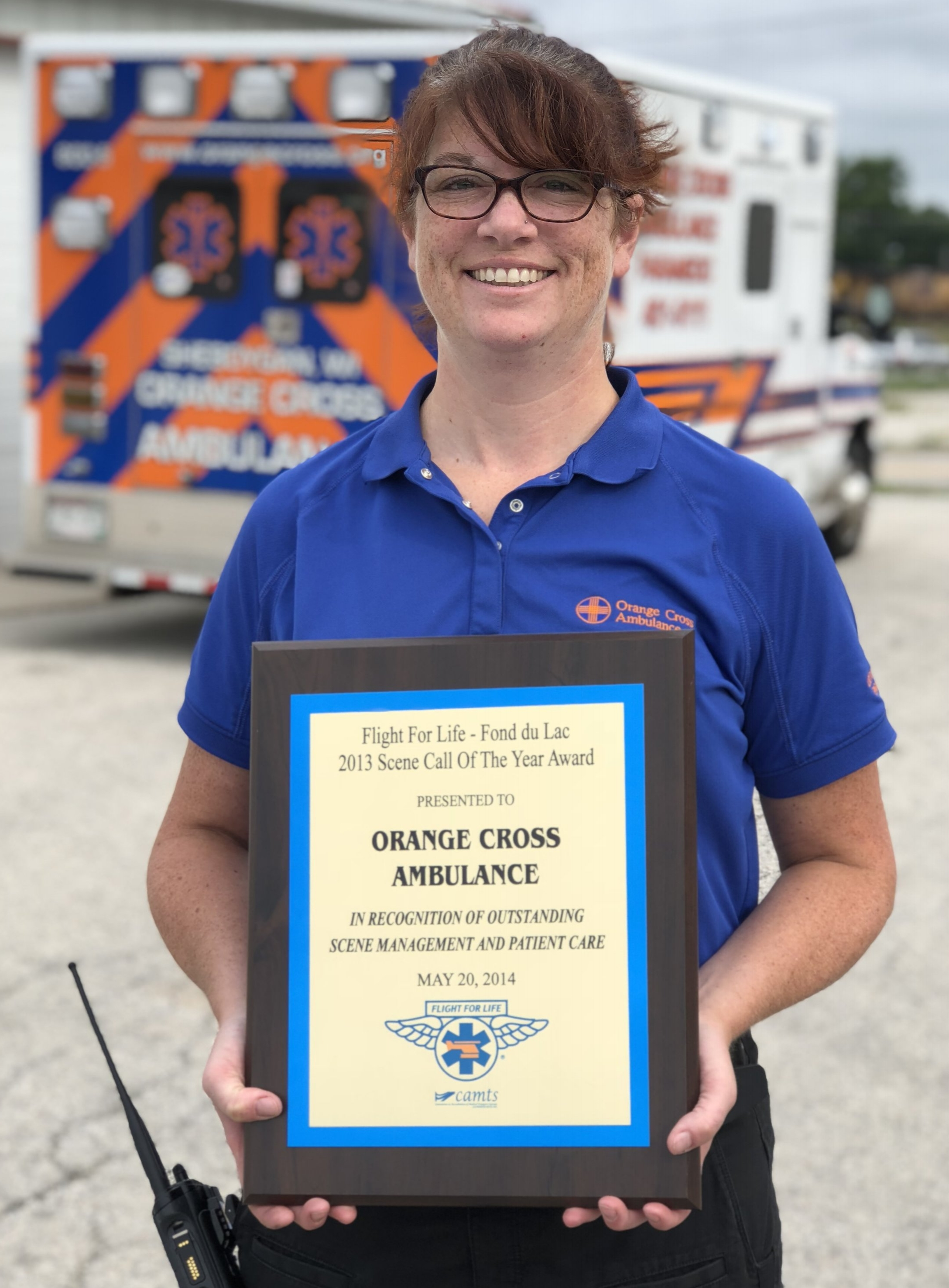 OCA CCP Rebecca Versey with the 2013 Flight for Life Scene Call of the Year Award for her demonstration of execptional care and team coordination when treating a critical pediatric trauma patient.