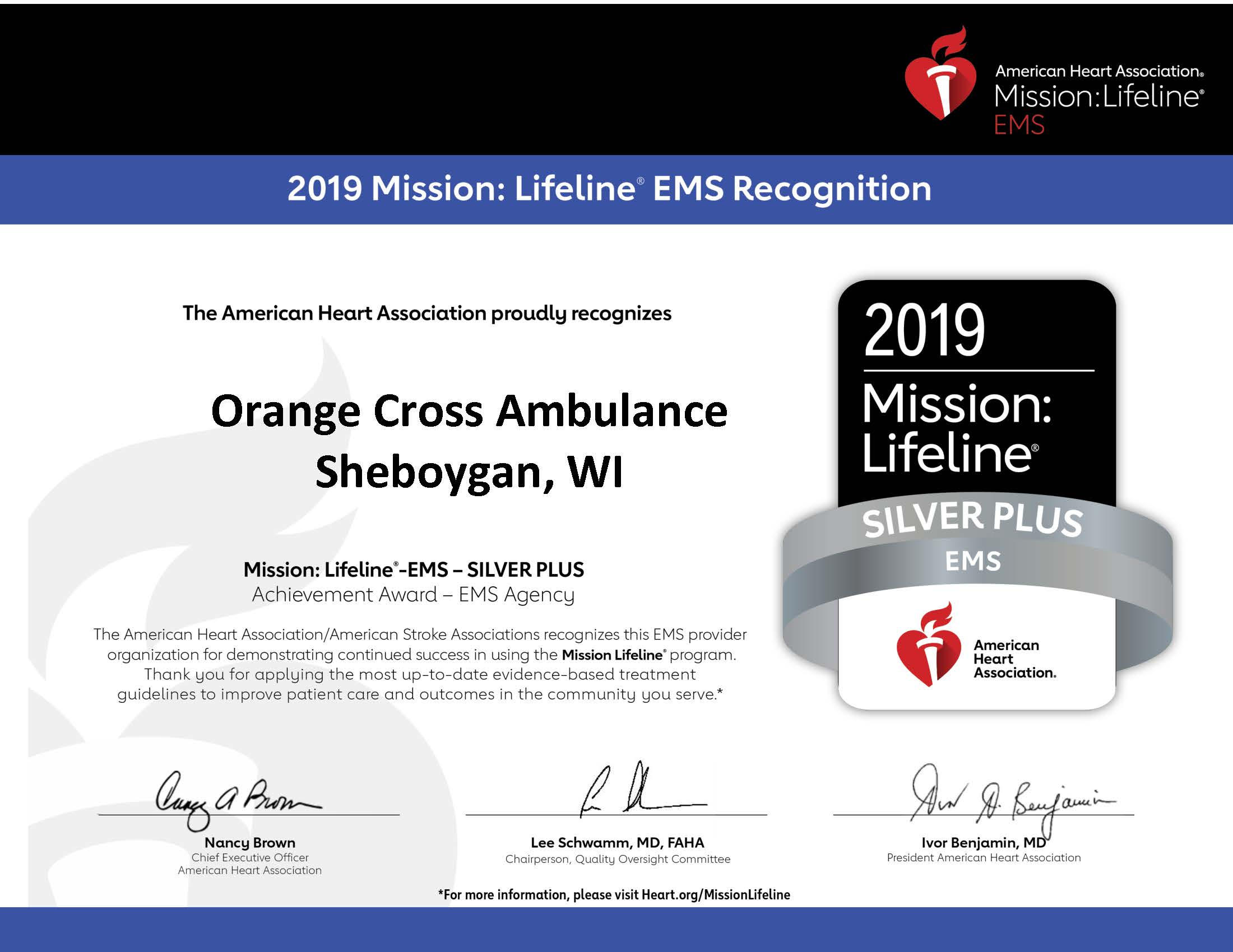 Our participation in Mission: Lifeline® demonstrates our commitment to quality care. We are proud to be a part of the American Heart Association's® efforts to turn guidelines into lifelines.