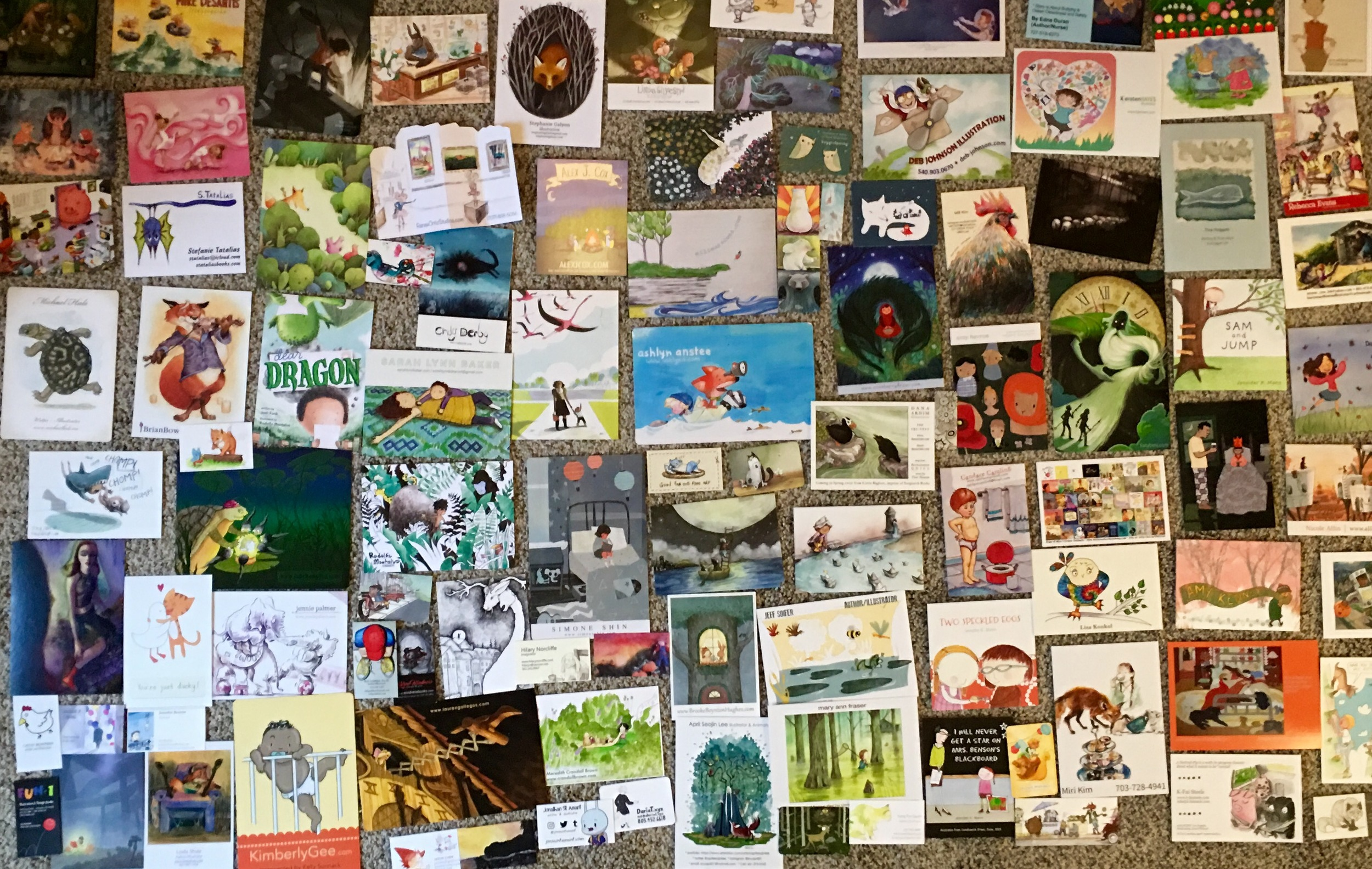 Illustrator promo cards!One of my favorites parts of attending SCBWI conferences.It feels so special to meet other artists and take a bit of their art home.