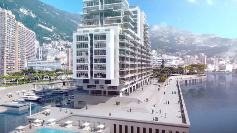 This is a mock-up of what the new district, called Anse du Portier, will look like. (Bouygues Construction)
