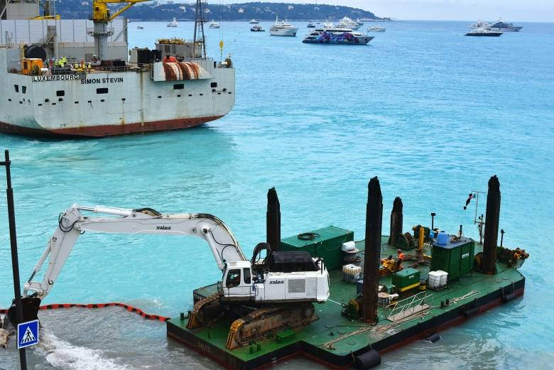 Dredging continues along the shoreline in Monaco. While preparatory work has been underway since October 2016, there is nothing to see above the water yet. (Sarah Lawrynuik/CBC)