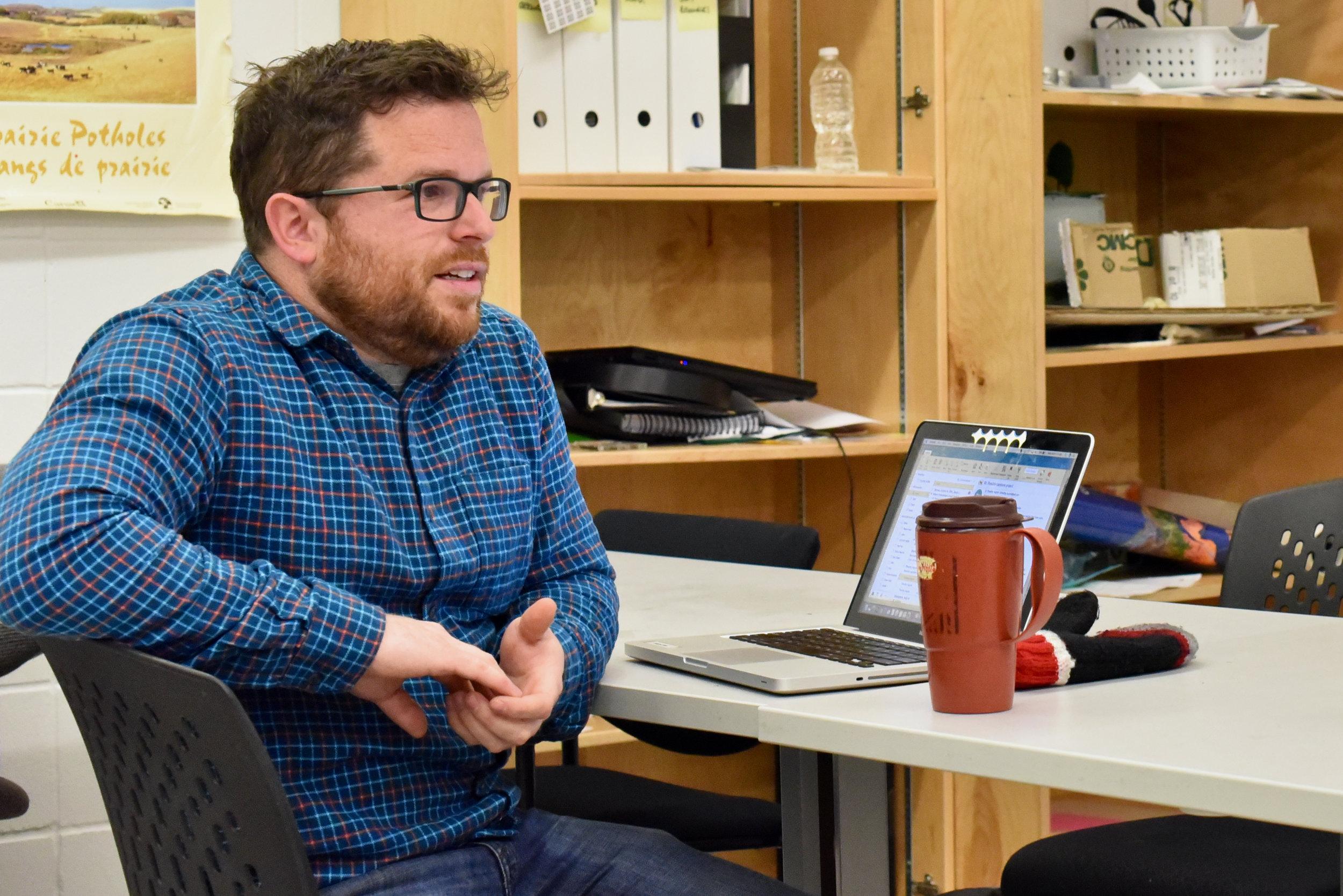 Adam Robb, a teacher at Central Memorial High School, in Calgary won Canada's environmental educator award in 2019. (Sarah Lawrynuik/The Narwhal)
