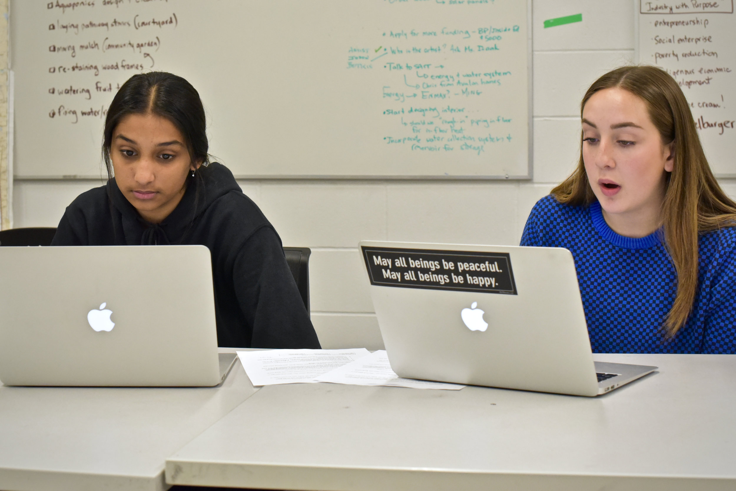 Neha Patter (left) and Abby Storrow work on a presentation about making school buildings more environmentally friendly. (Sarah Lawrynuik/The Narwhal)