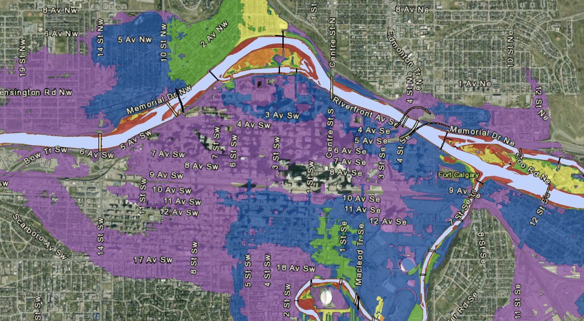 Areas in blue are flood zones for 50- to 100-year floods. Purple is 100- to 1,000-year floods. (Source: City of Calgary flood hazard mapping)