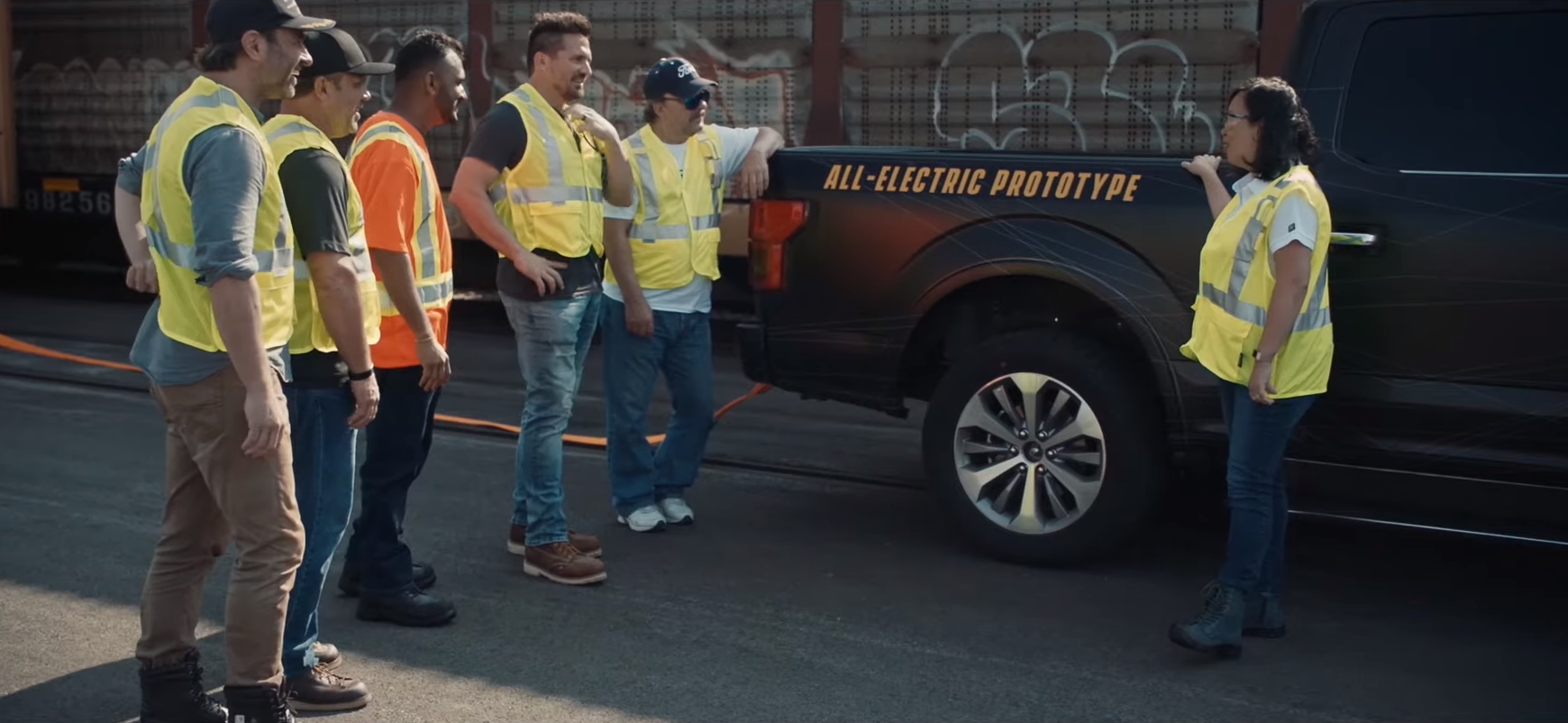 Ford unveiled its electric F-150 prototype in a commercial released in July. (Ford/YouTube)