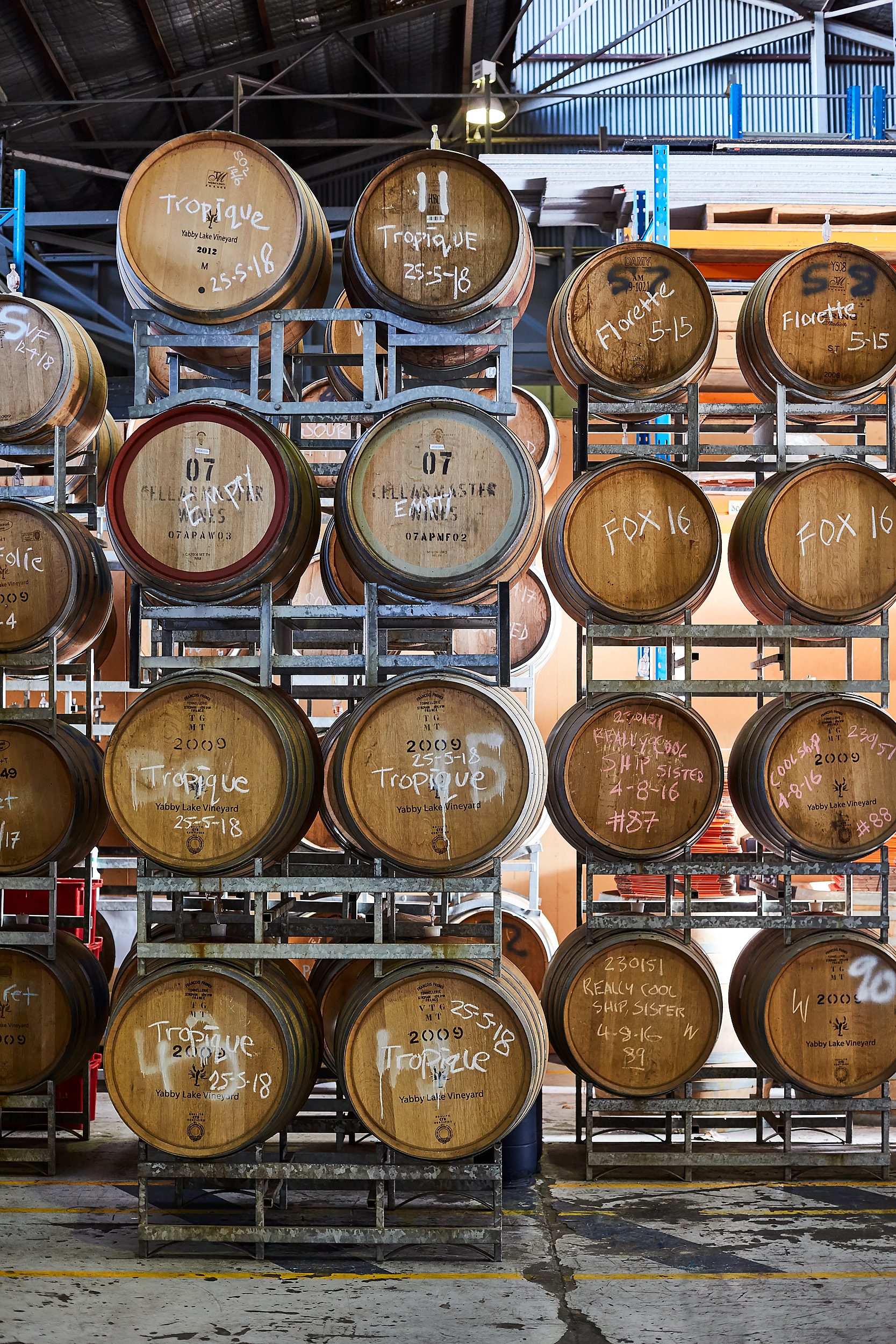 The beers are aged in wine barrels