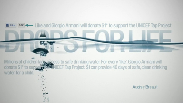 Giorgio Armani + UNICEF: Activating Drops For Life in the US.