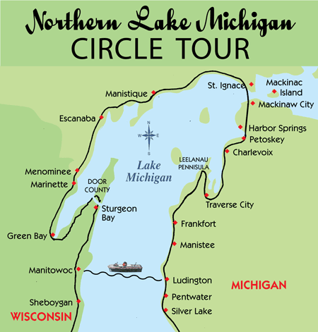 I found this map online, and it gives a rough illustration of our stops on northern Lake Michigan so far - Harbor Springs, Petoskey, Boyne City (not shown, but east of Charlevoix on Lake Charlevoix), Charlevoix and Traverse City