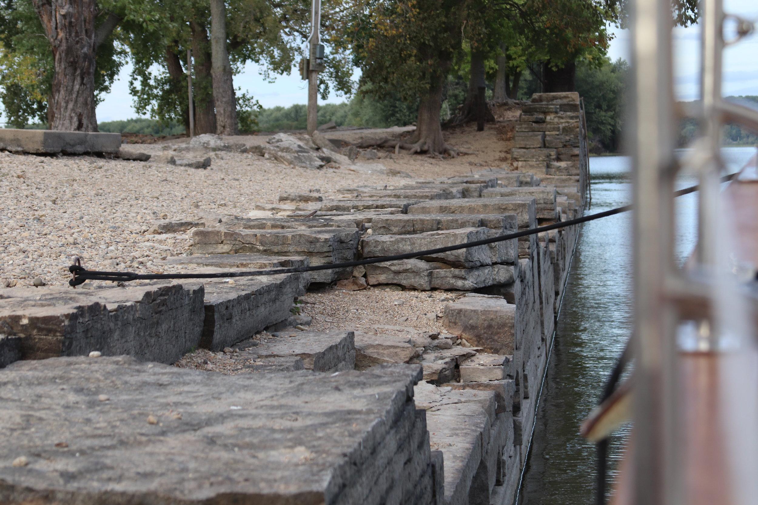 Crumbling lock walls and rebar loops