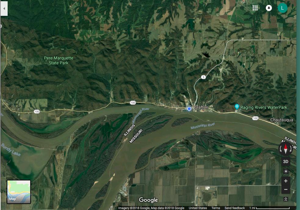The little blue dot marks Grafton Harbor