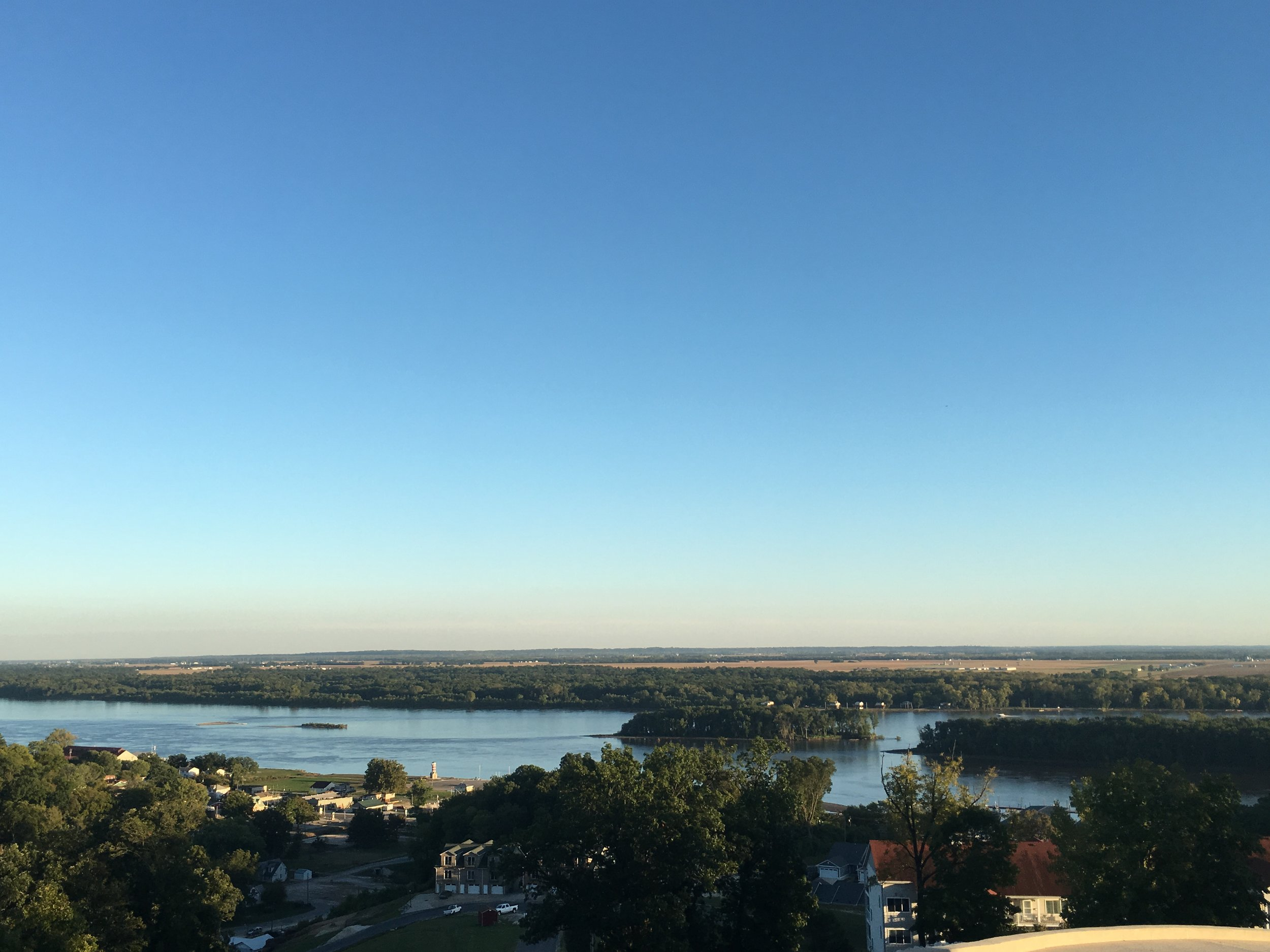 Winery view of the confluence of the Illinois and Mississippi Rivers