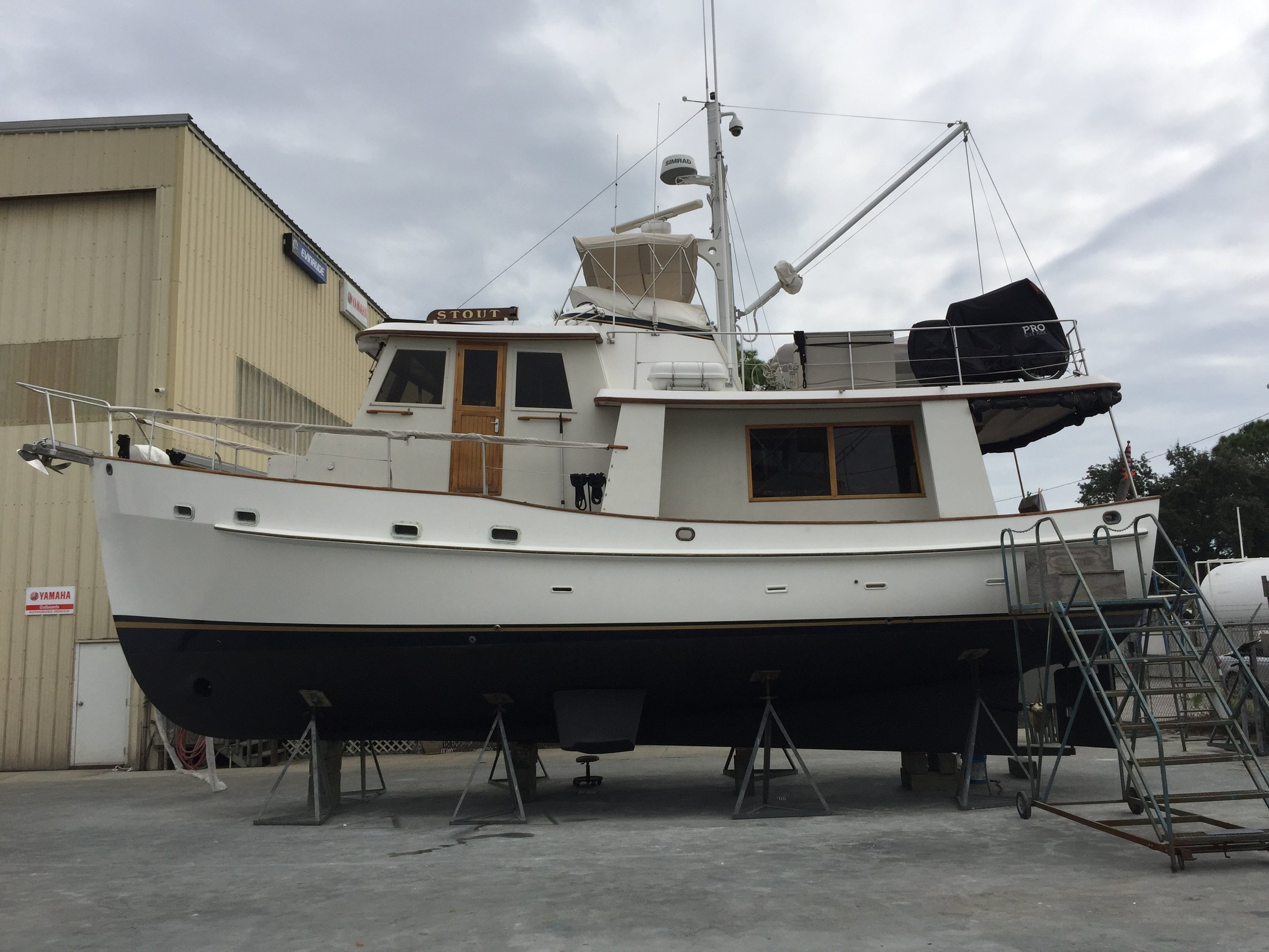 All ready for salt water - new bottom paint, new anodes (magnesium for fresh water/zinc for salt water), new gasket for the pilot house window, fiberglass dings repaired and freshly washed and waxed hull