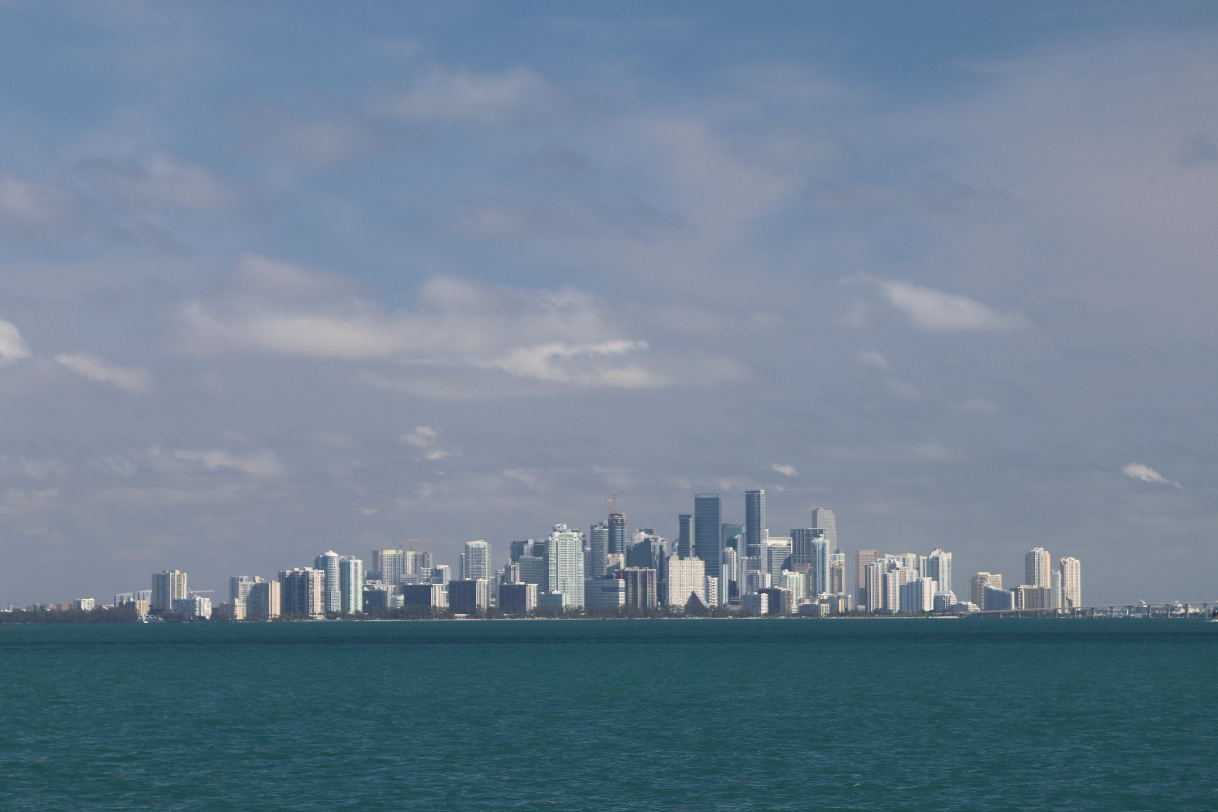 Miami skyline moving north from Sands Key anchorage