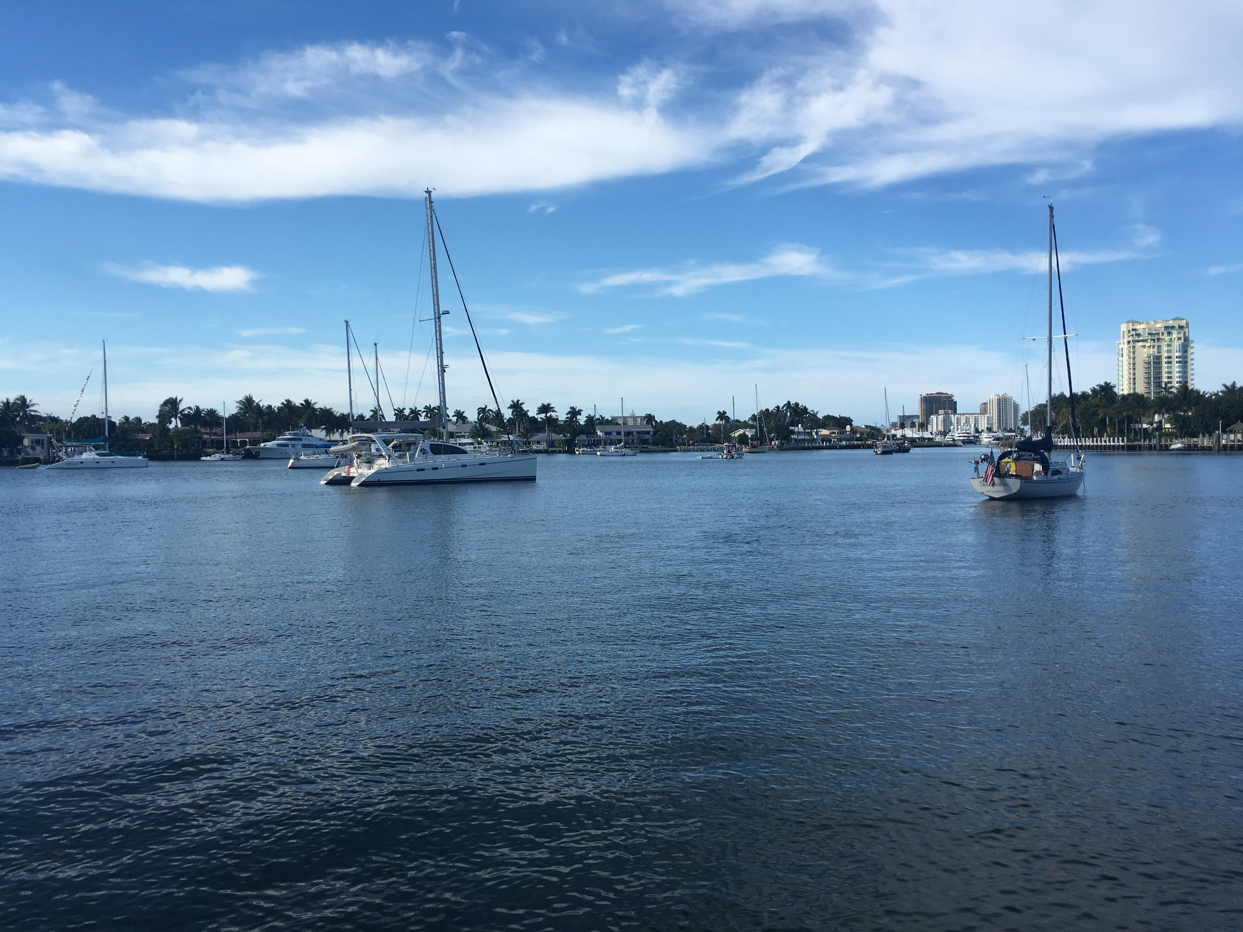 Our Fort Lauderdale anchorage was much more urban and congested than our previous anchorages