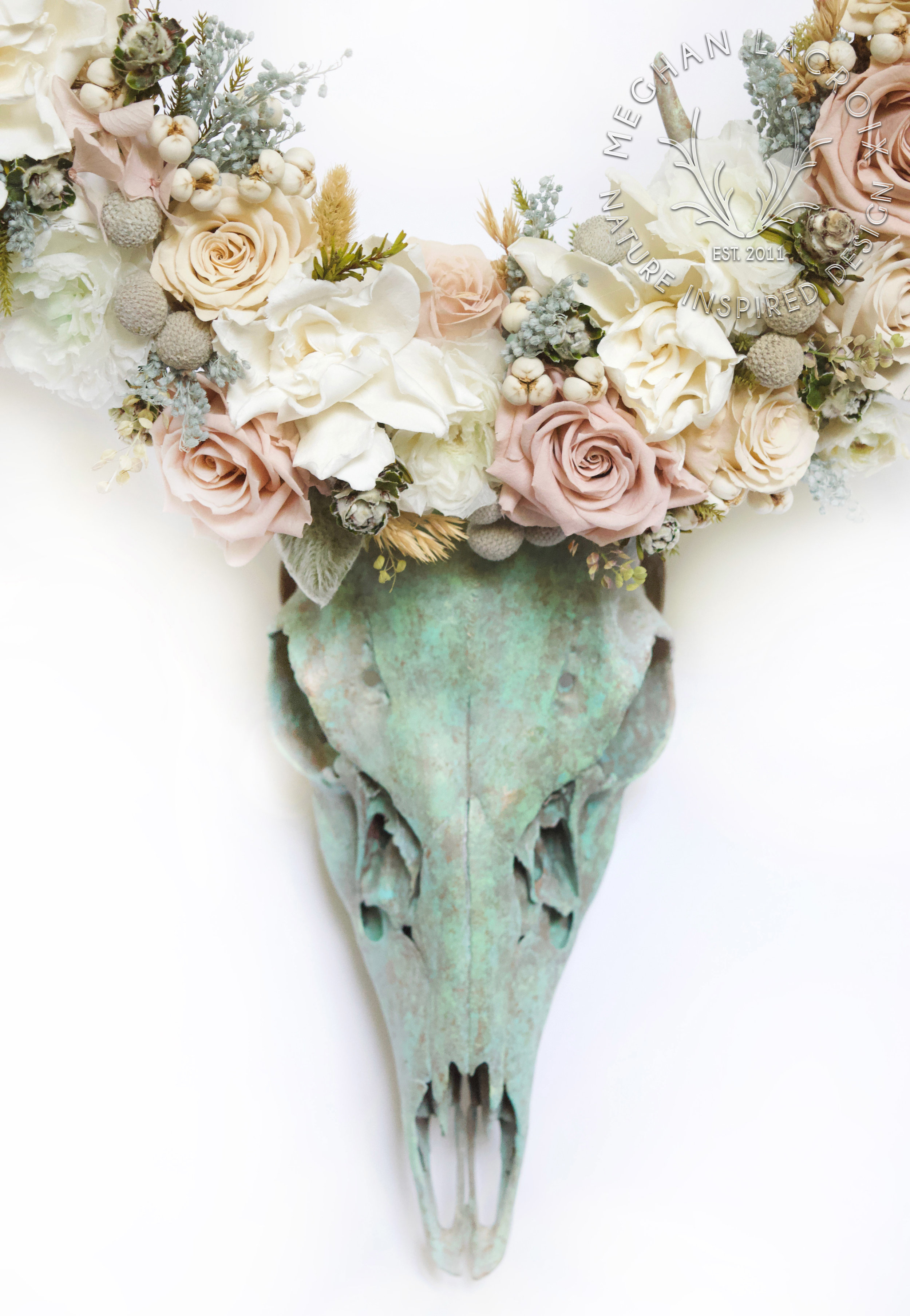 Antiqued Bronze Skull with Flower Crown by MeghanLaCroix.com