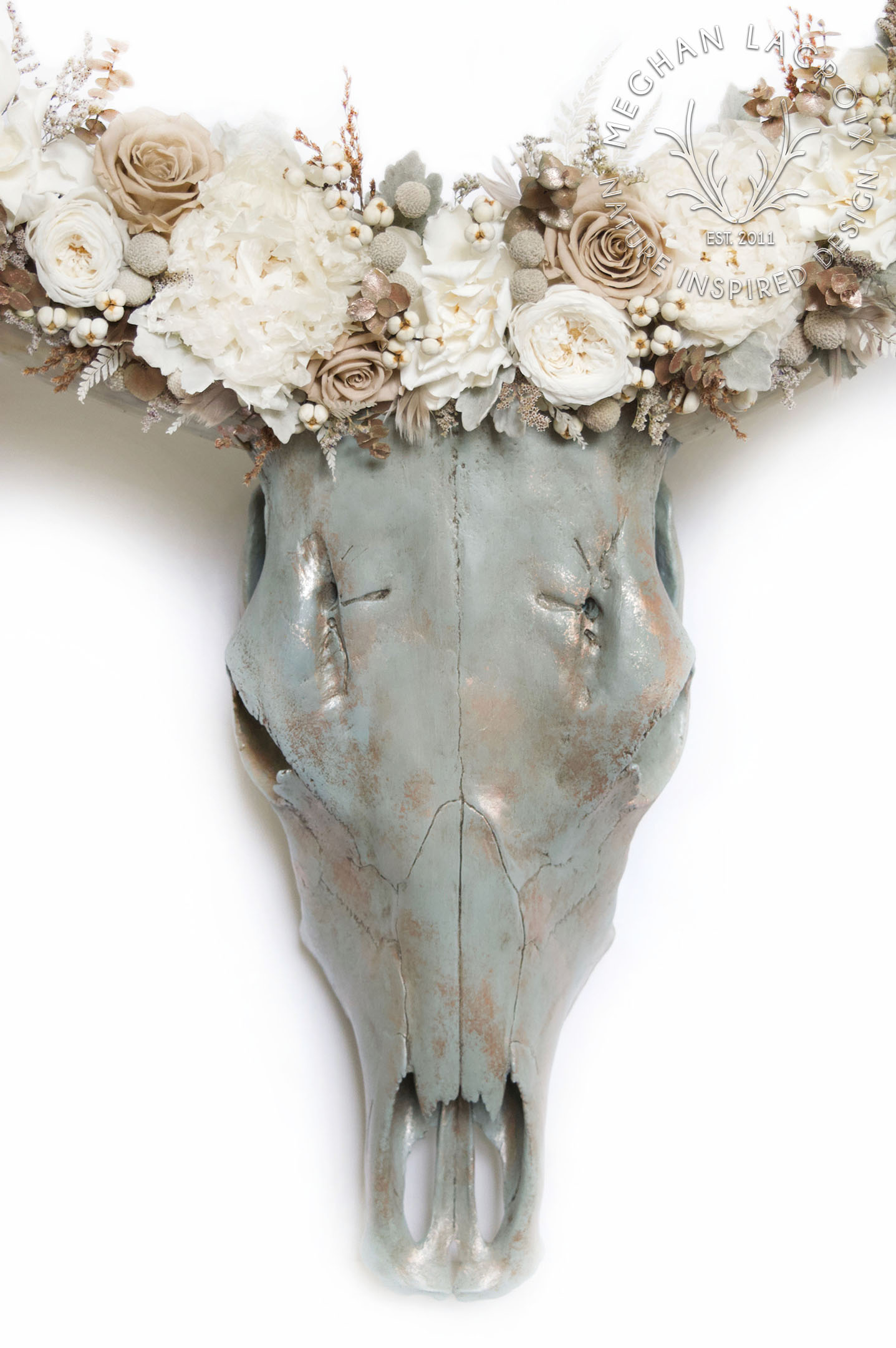 Hand Painted Cow Skull by MeghanLaCroix.com