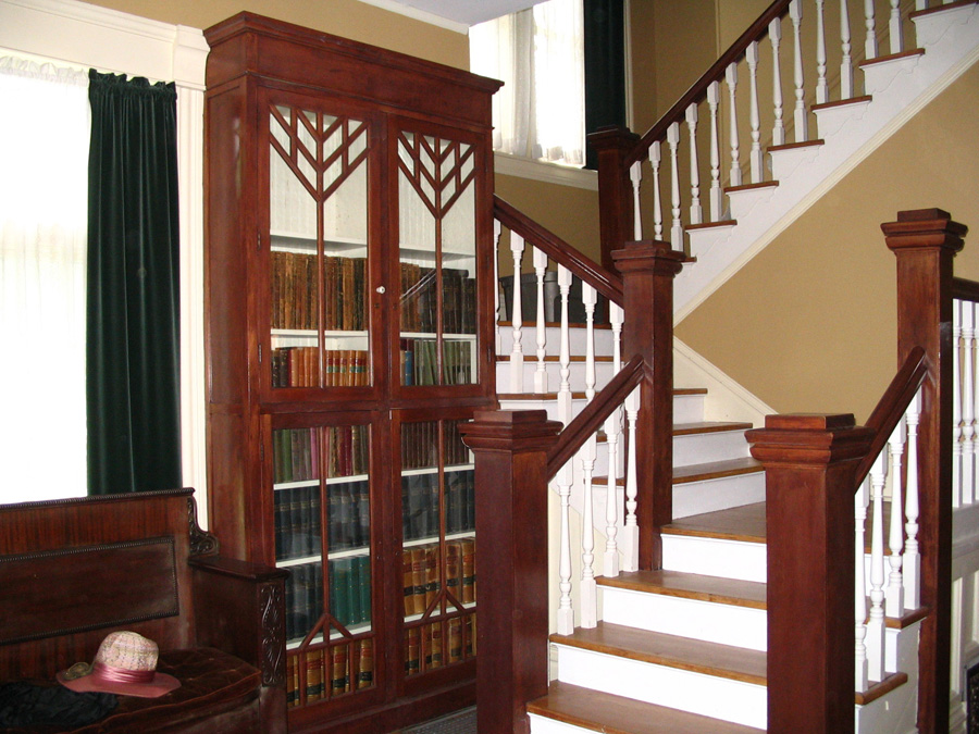 When architect Alfred Finn designed an addition to the house in 1915, he added BOOKCASES with his signature chevron design.